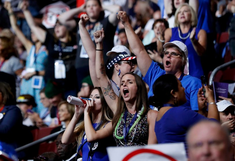 Supporters of Vermont Sen. Bernie Sanders chant his name as they protest on the floor during the first day of the Democratic National Convention in Philadelphia, on July 25, 2016.