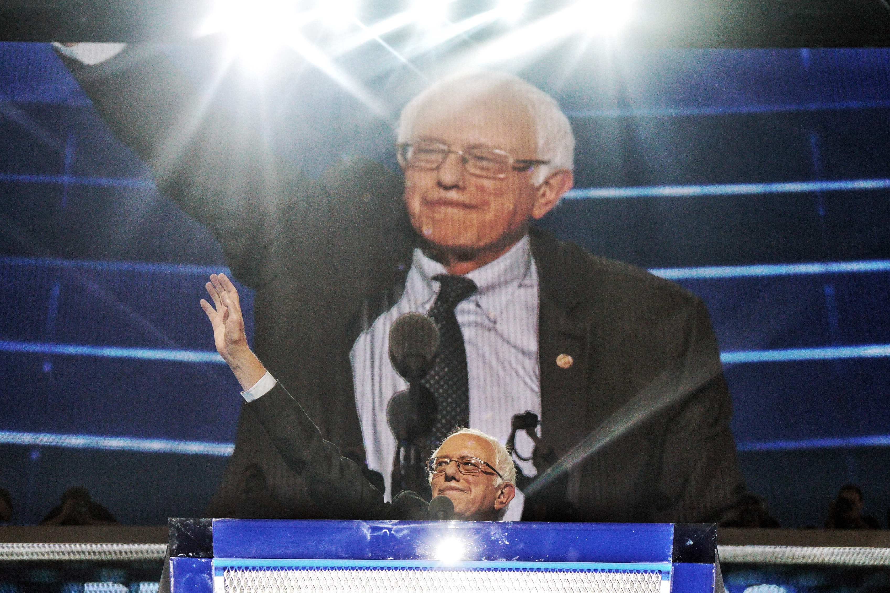 Vermont Sen. Bernie Sanders speaks during the Democratic National Convention on July 25, 2016 in Philadelphia.
