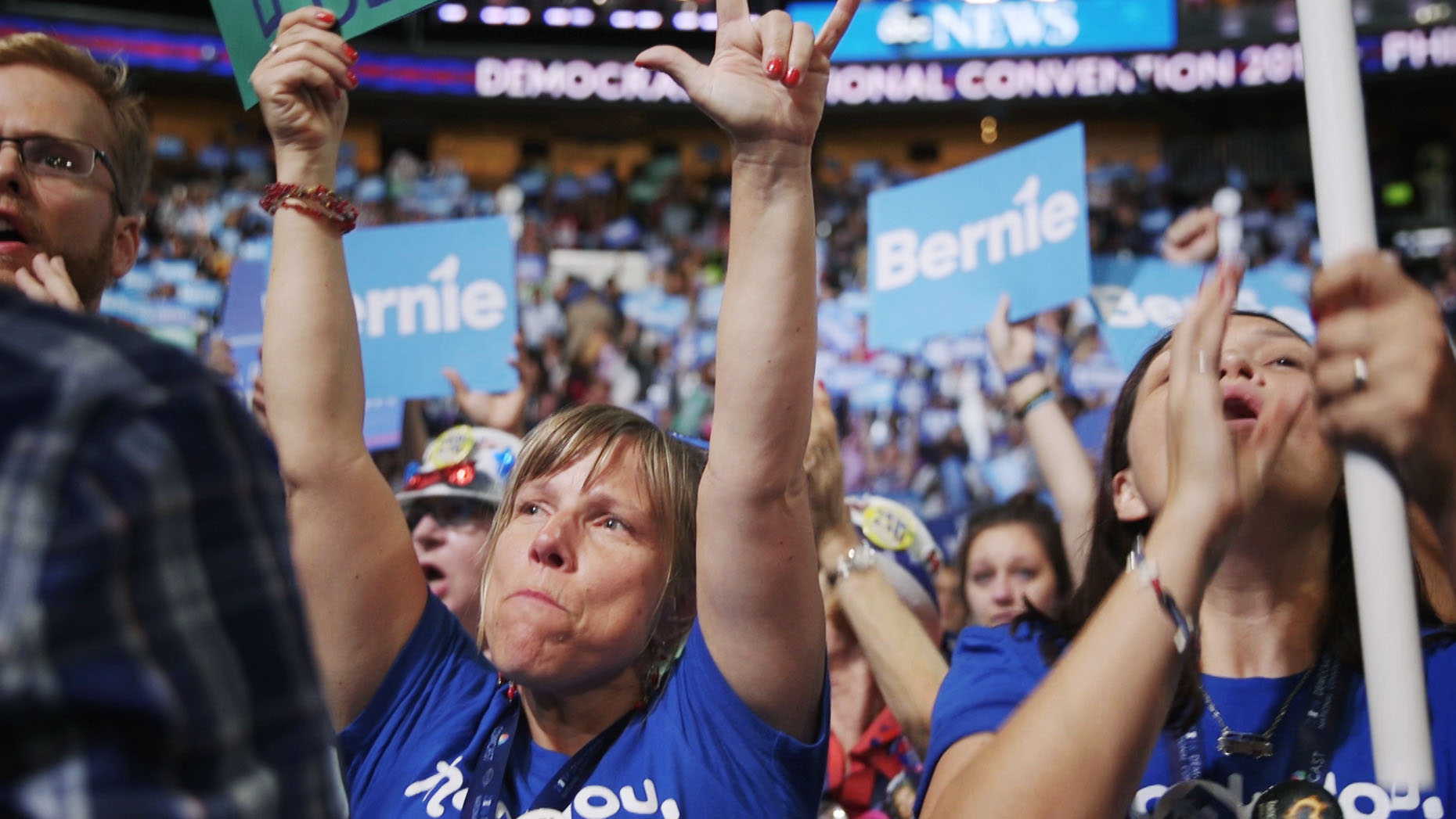 Bernie Sanders supporters protest at the Democratic national convention in Philadelphia.
