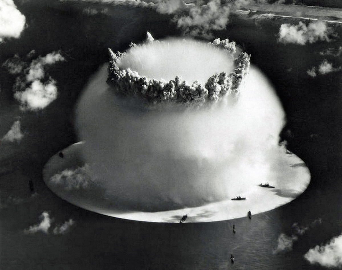 The Baker test during Operation Crossroads, a series of two nuclear weapons tests conducted by the United States at Bikini Atoll. 25th July 1946.