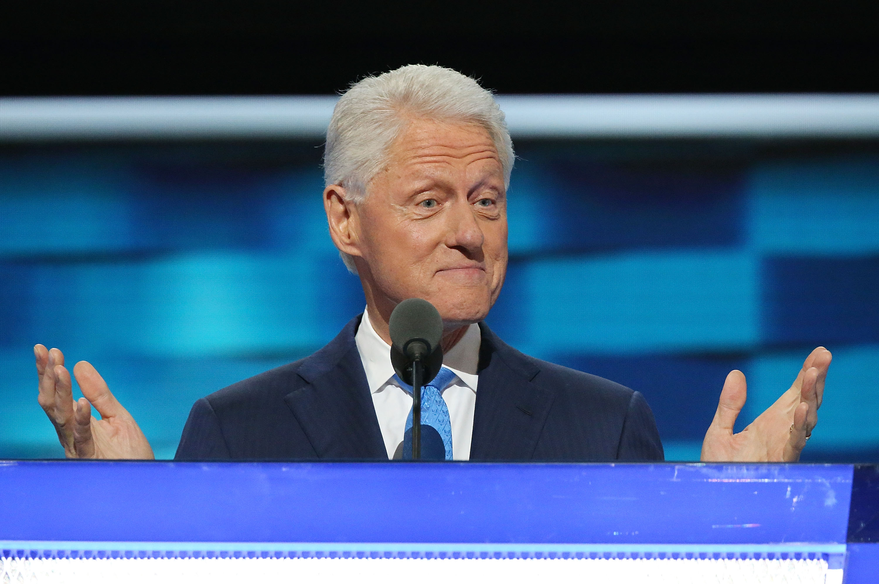 Former U.S. President Bill Clinton delivers remarks on the second day of the 2016 Democratic National Convention at Wells Fargo Center in Philadelphia on July 26, 2016.