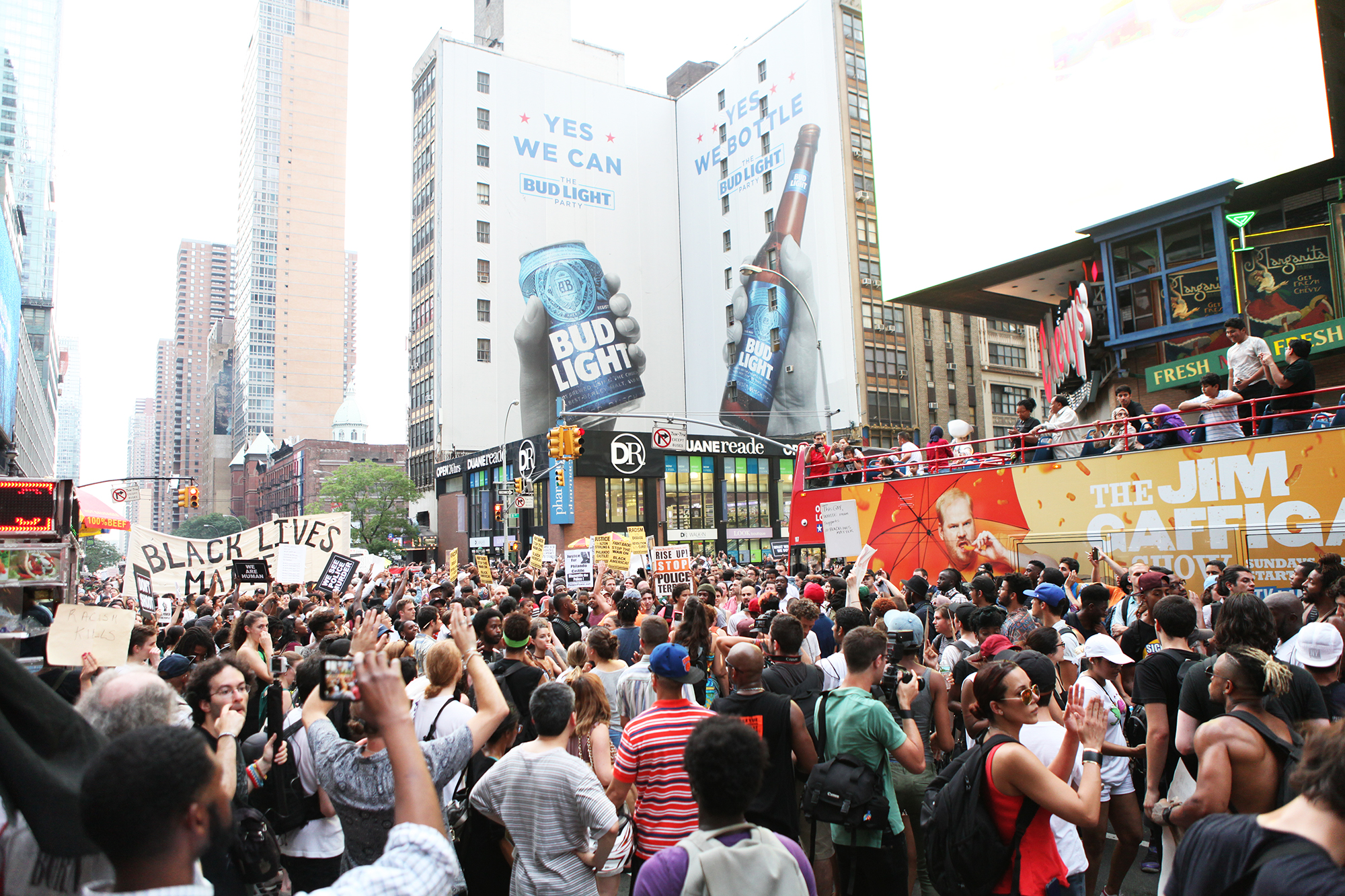 Protesters in Times Square in New York City, on July 7, 2016.