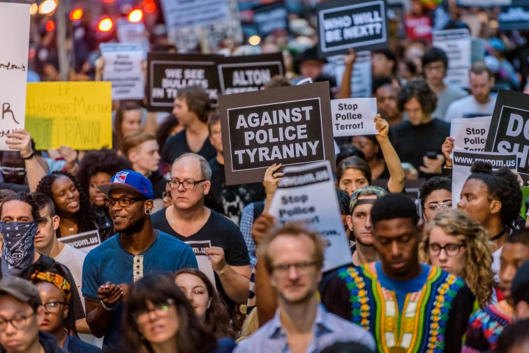For the third day in a row the Black Lives Matter movement took the streets of New York to protest police brutality in the aftermath of the release of the security camera video capturing the death of Delrawn Small contradicting the NYPD story spread on the media, July 9, 2016.