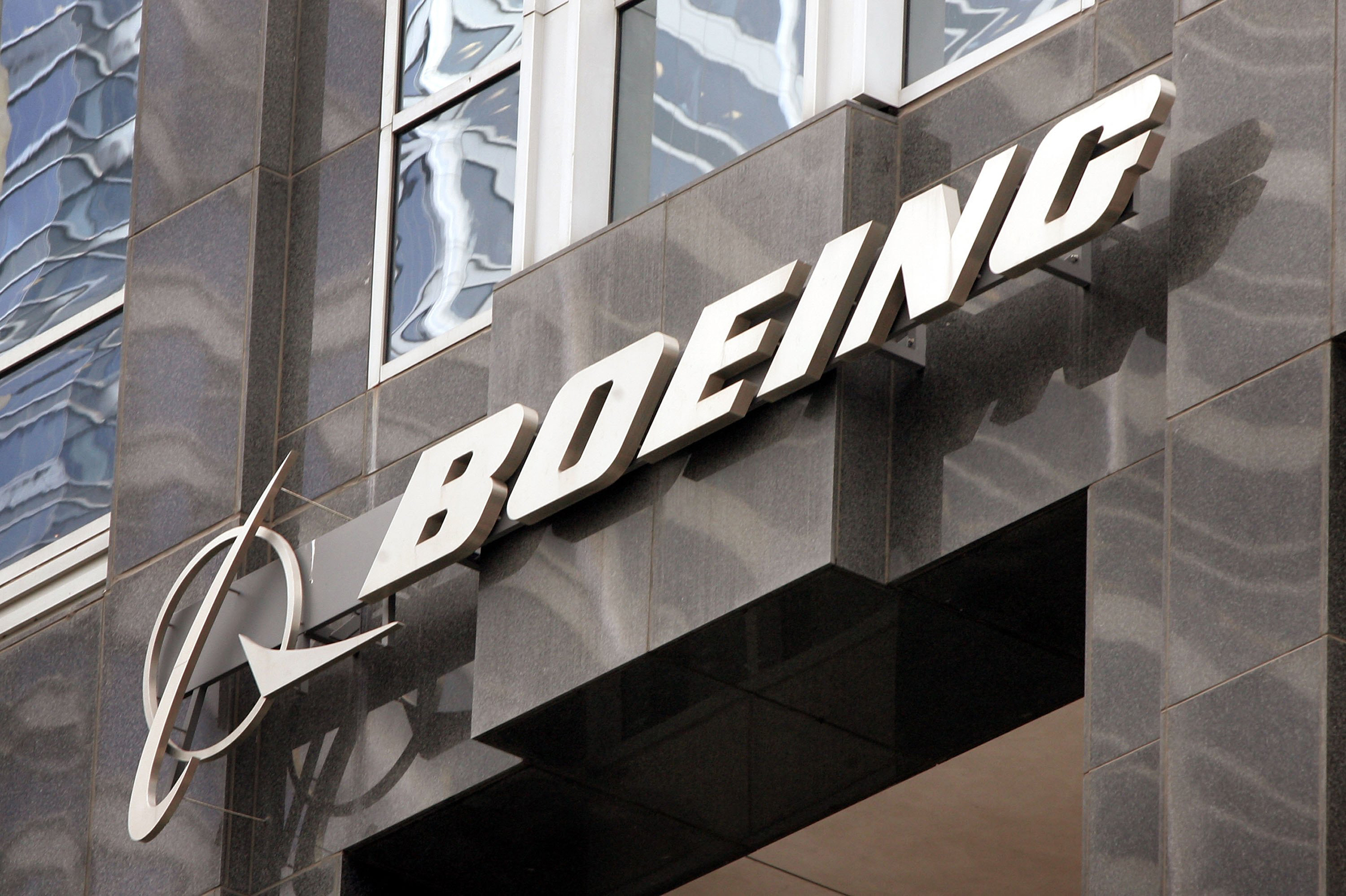 The Boeing logo hangs on the corporate world headquarters building of Boeing in Chicago, Nov. 28, 2006.