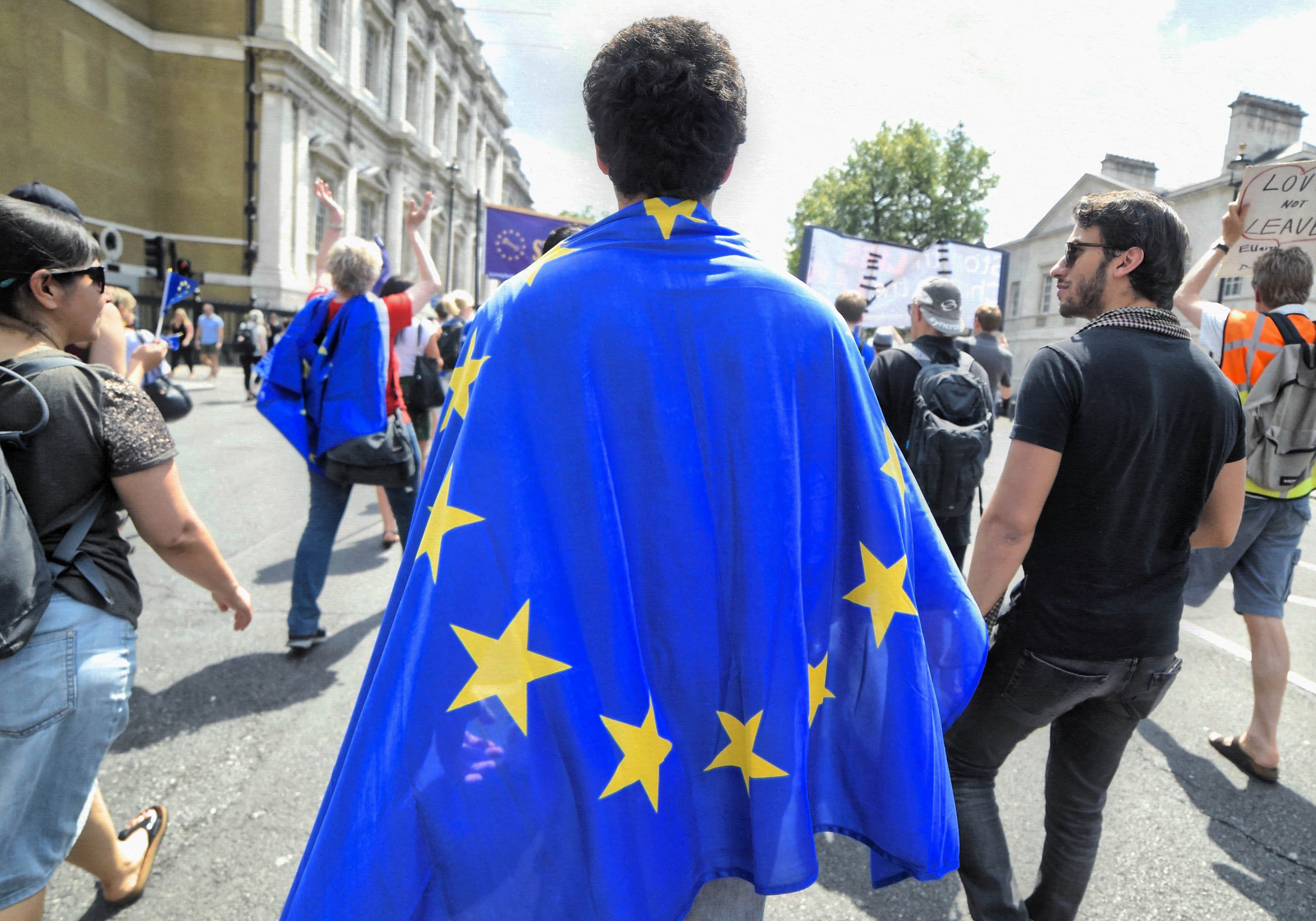 Hundreds of Pro-European campaigners marched to 10 Downing Street in London on  July 23, 2016.