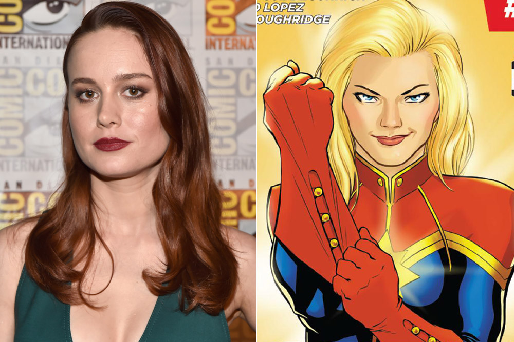 Brie Larson (L) and Captain Marvel (R)