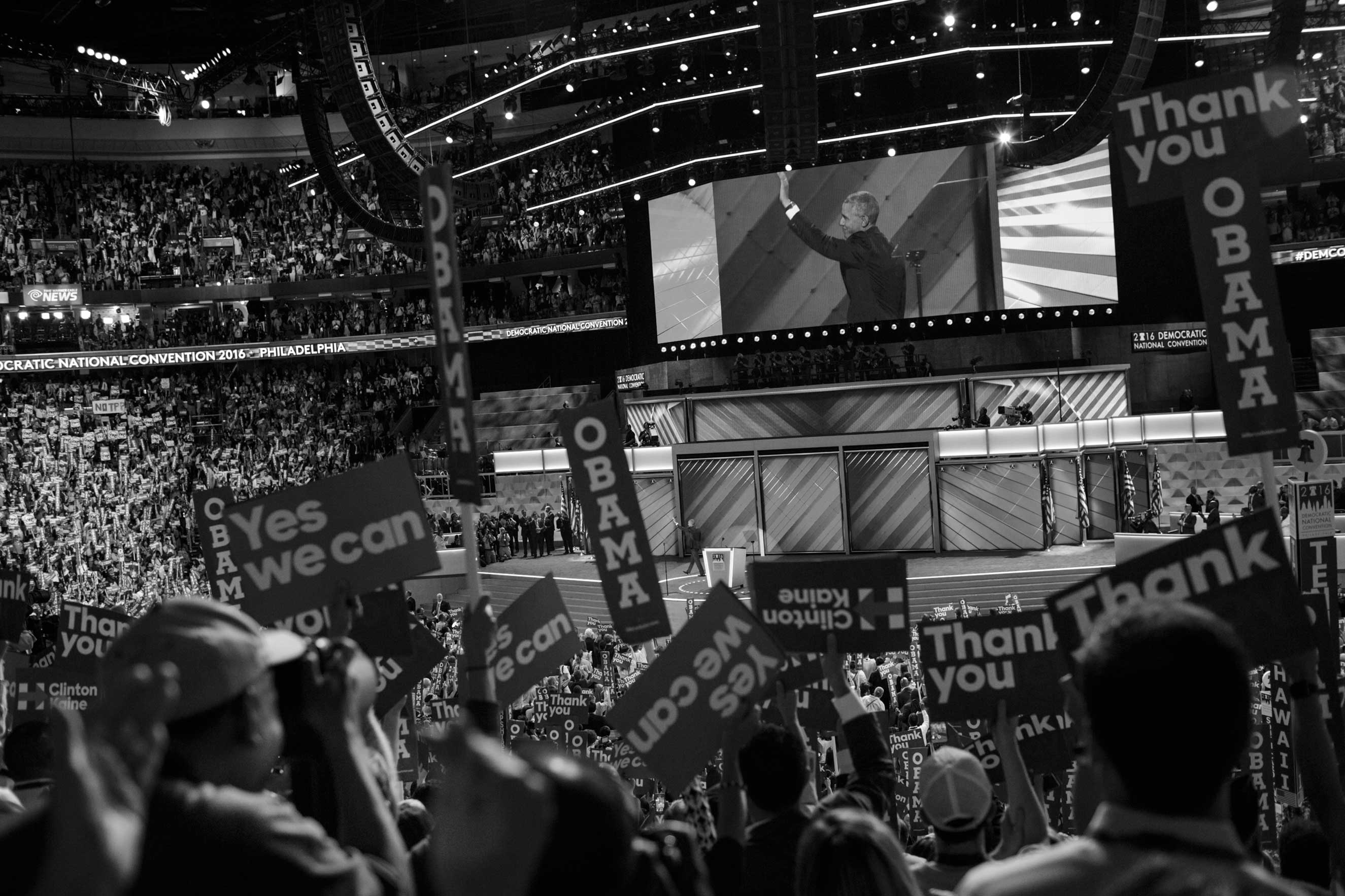 27 July 2016 - Philadelphia, PA - President Barack Obama is waving to the crowd after his speech on the third day of the Democratic National Convention inside the Wells Fargo Center.