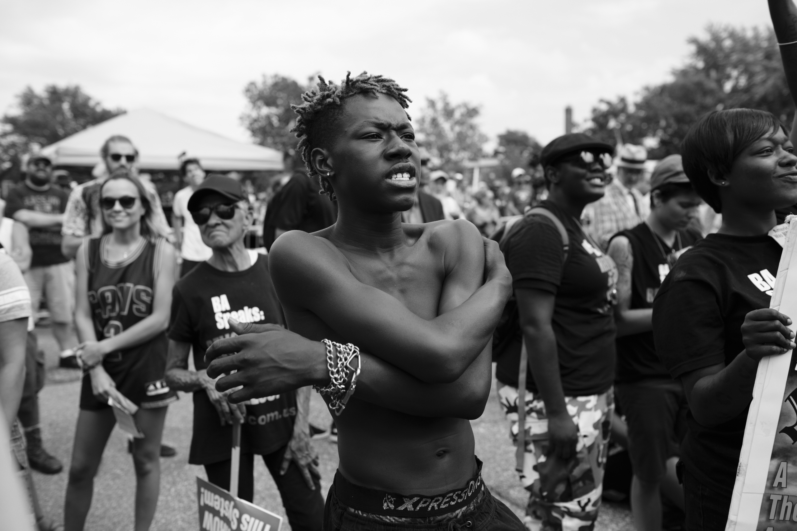 18 July 2016 - Cleveland, Ohio - REVCOM activist Kael is listening to a speech at the  End Poverty  rally in East Cleveland. The Republican National Convention kicked off on Monday and was surrounded by small and peaceful protests.