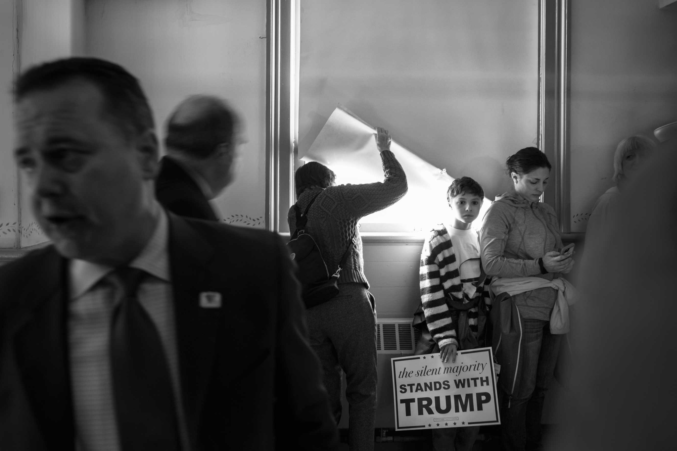 04 Feb 2016 - Exeter, New Hampshire - Supporters are waiting for Republican presidential candidate Donald J. Trump to arrive for his speech at the Exeter Town Hall.