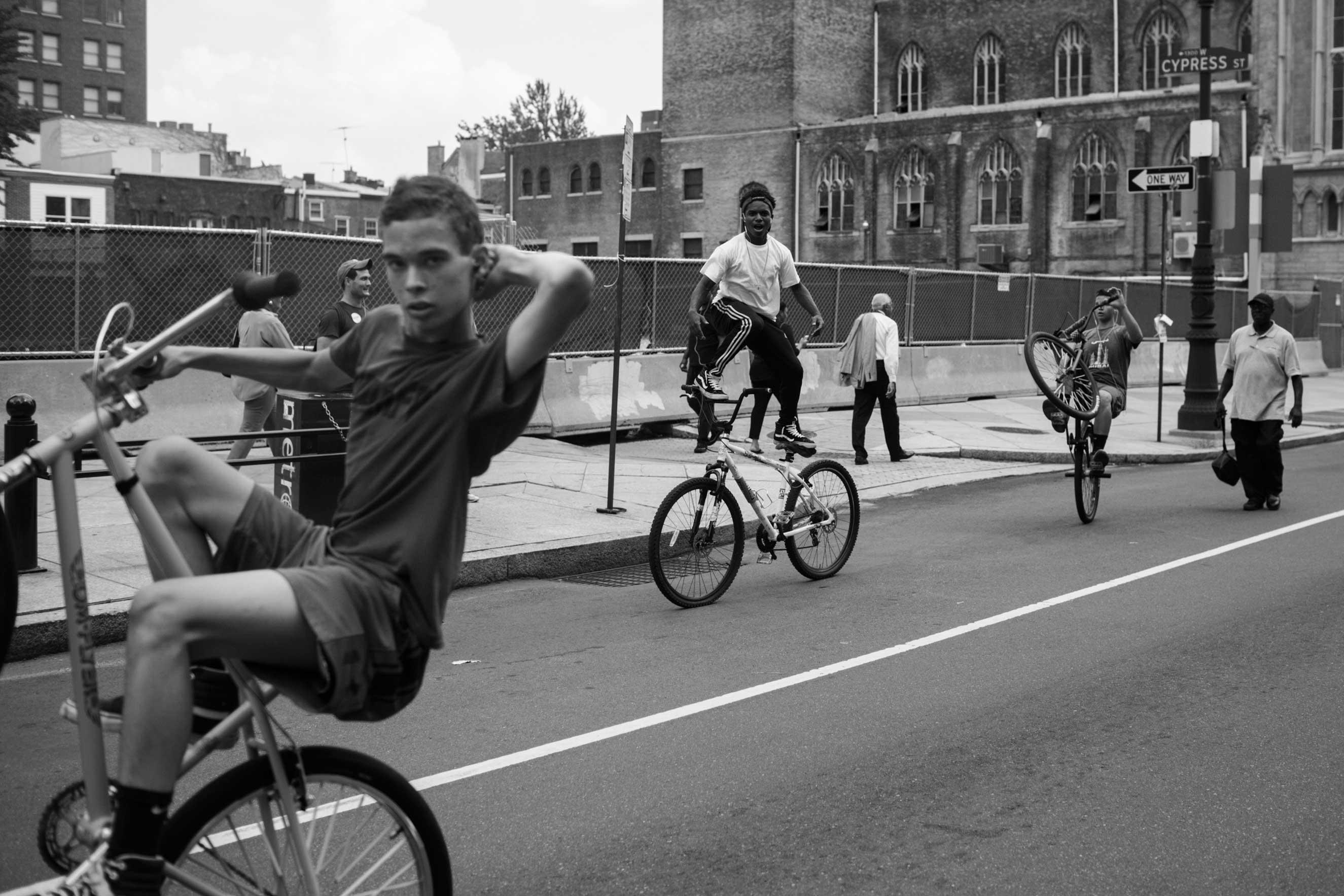25 July 2016 - Philadelphia, PA - Teenagers are riding and doing tricks on their bikes through Downtown Philadelphia.