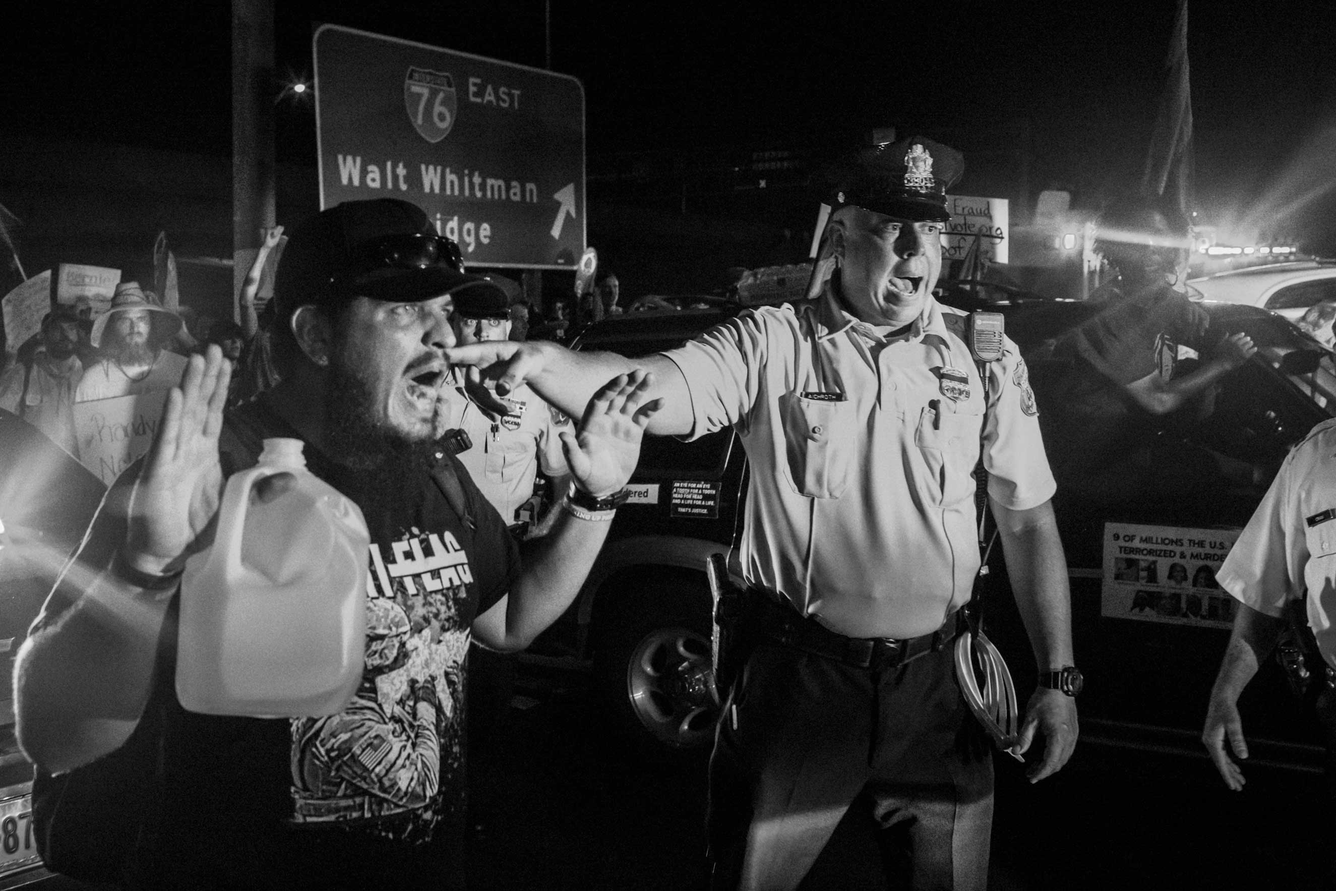 26 July 2016 - Philadelphia, PA - Police clashes with the  Shut Down the DNC!  march. Activists from the Black Lives Matter movement are guiding the march and holding speeches. The march remained peaceful.