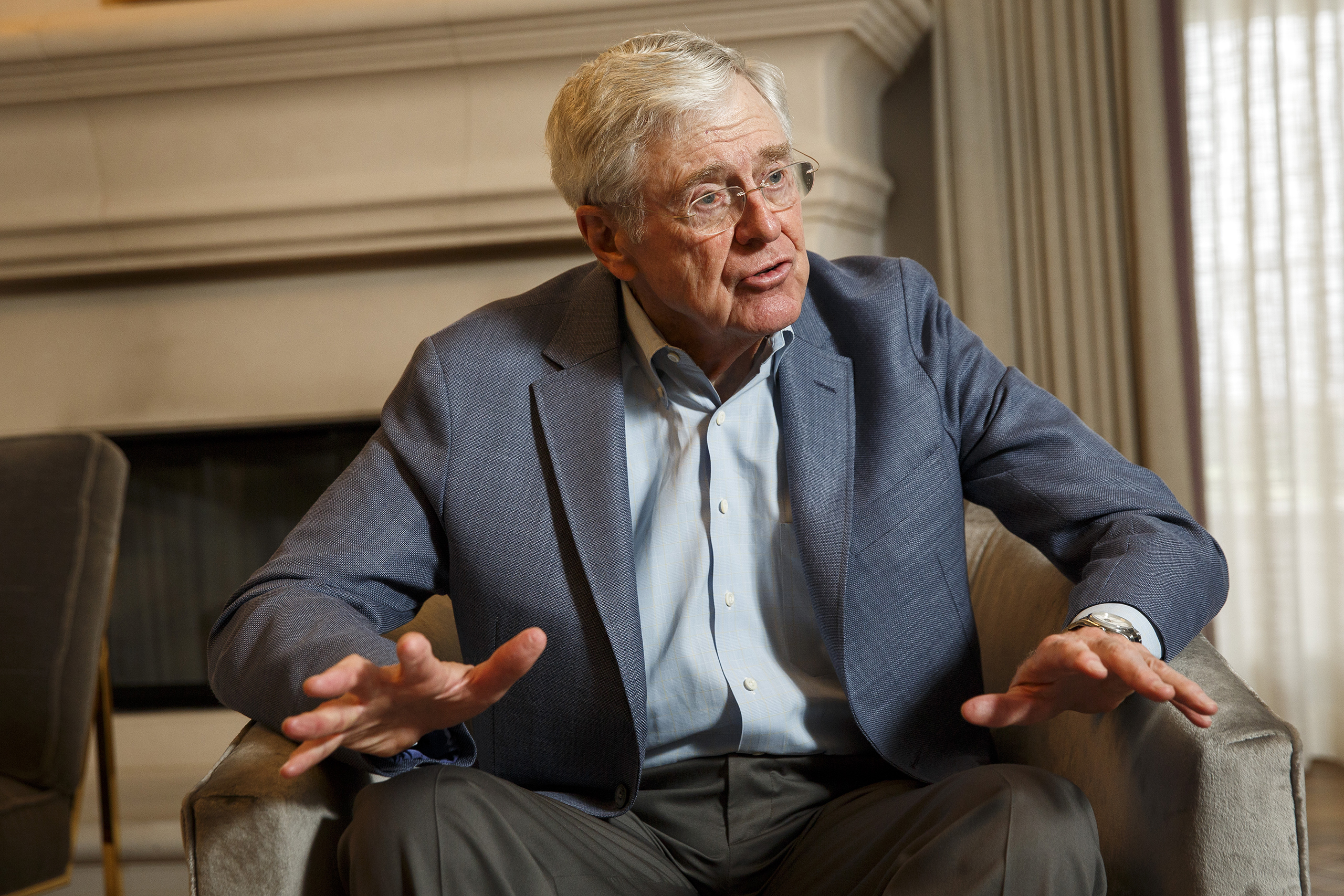 Charles Koch speaks during an interview with the Washington Post at the Freedom Partners Summit in Dana Point, Calif., on Aug. 3, 2015.