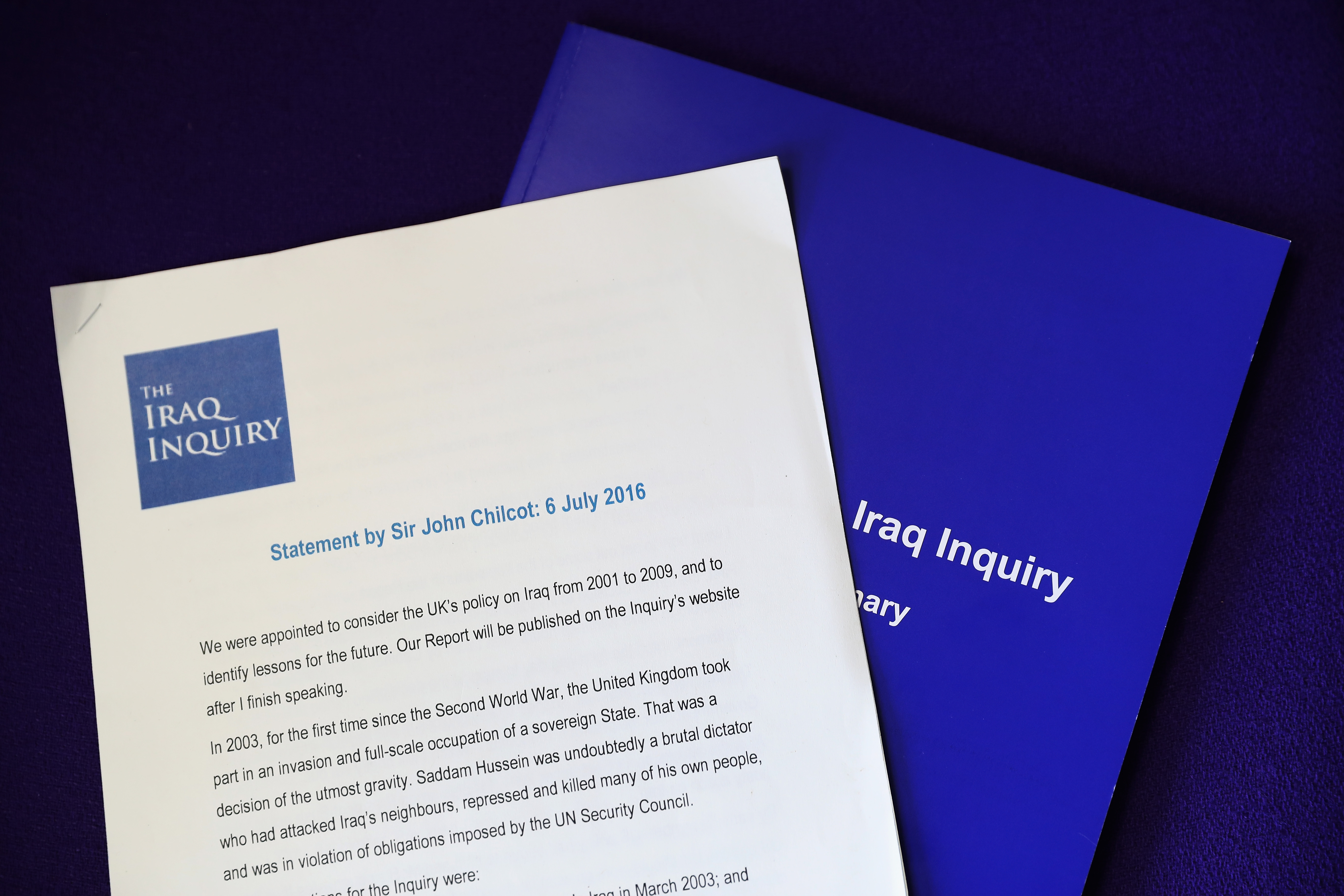 A view of The Iraq Inquiry Report presented by Sir John Chilcot at the Queen Elizabeth II Centre in Westminster on July 6, 2016 in London, England.