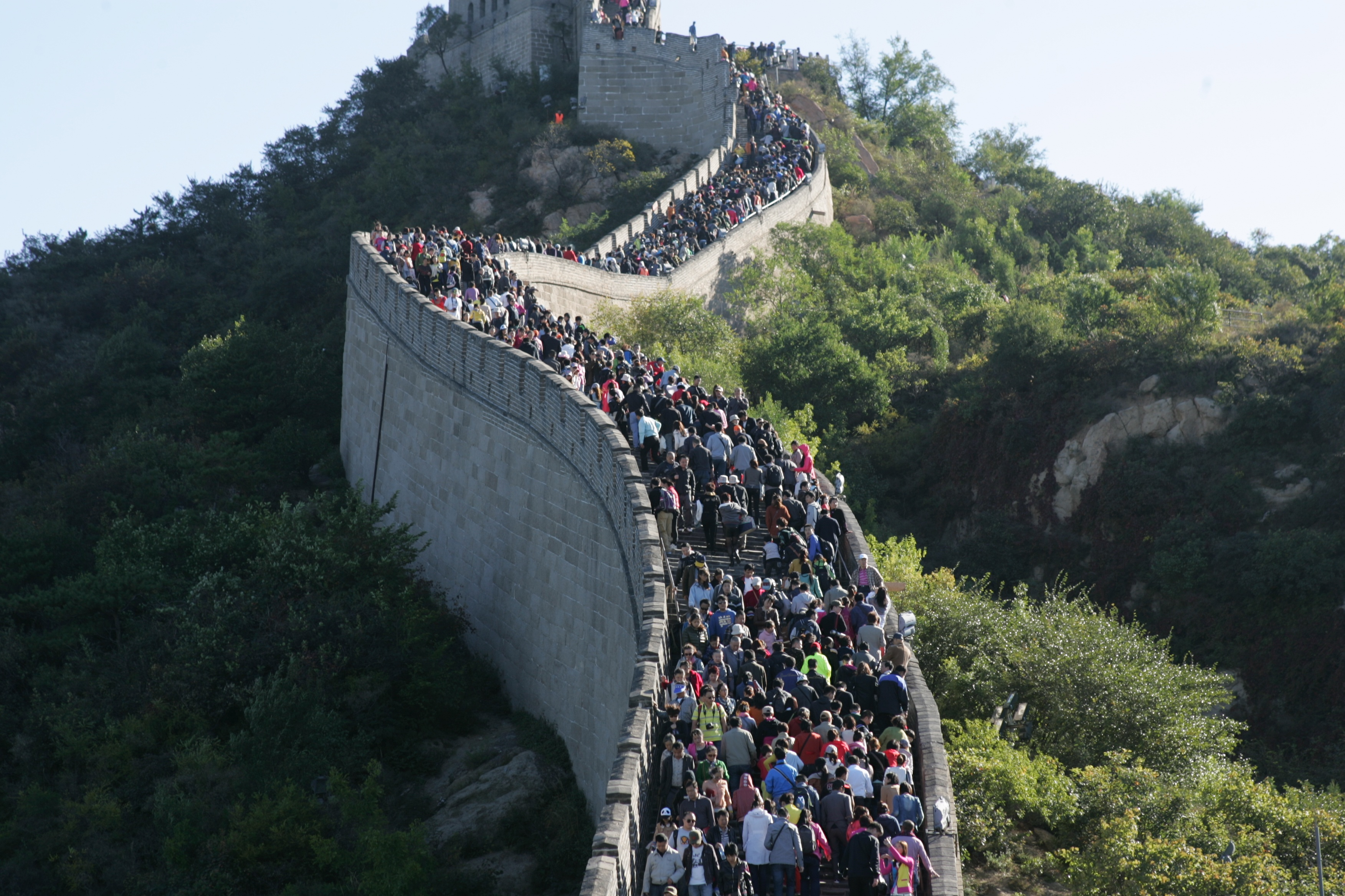 People crowded to visit the Great Wall on October 2, 2013 in Beijing, China.