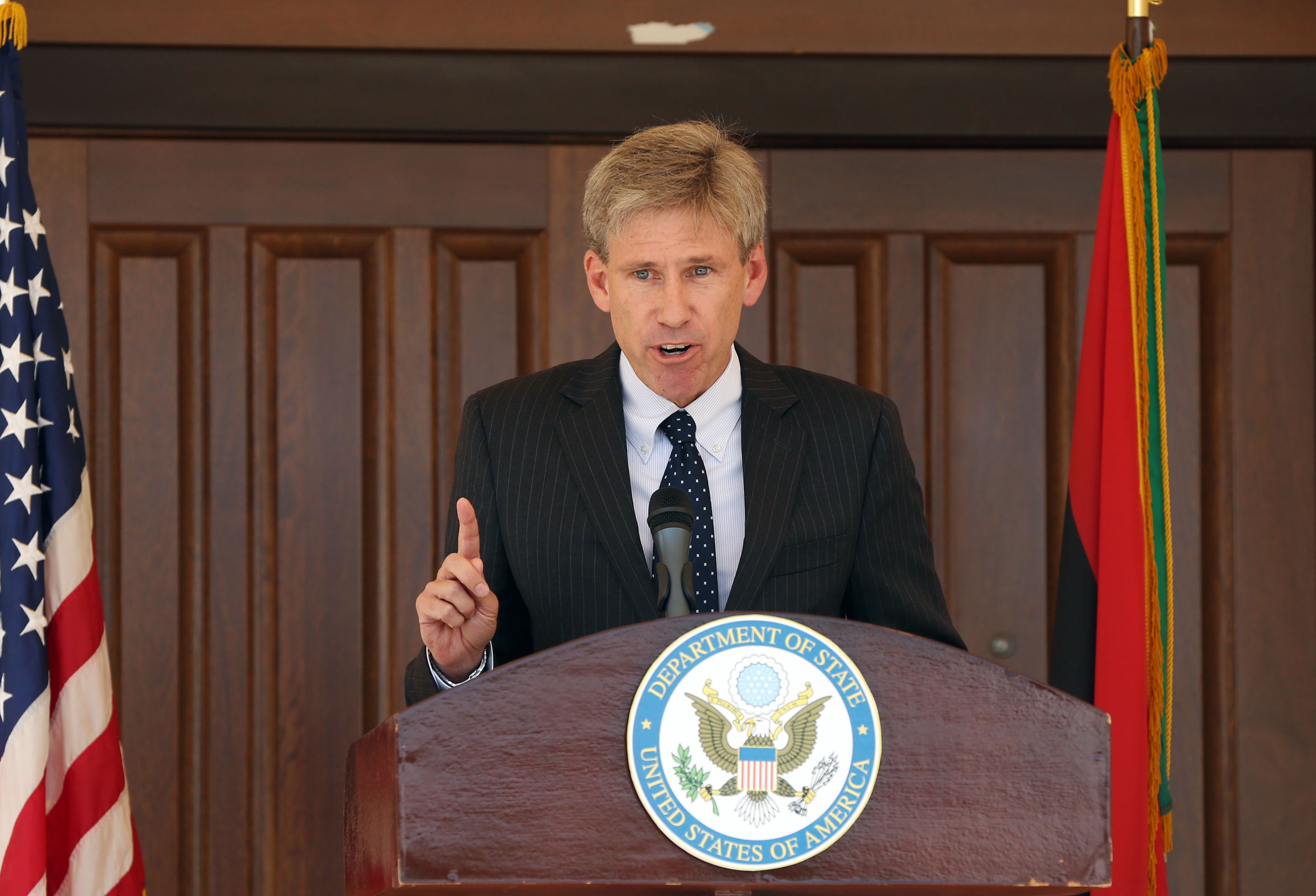 U.S. Ambassador to Libya Chris Stevens gives a speech on August 26, 2012 at the U.S. embassy in Tripoli.