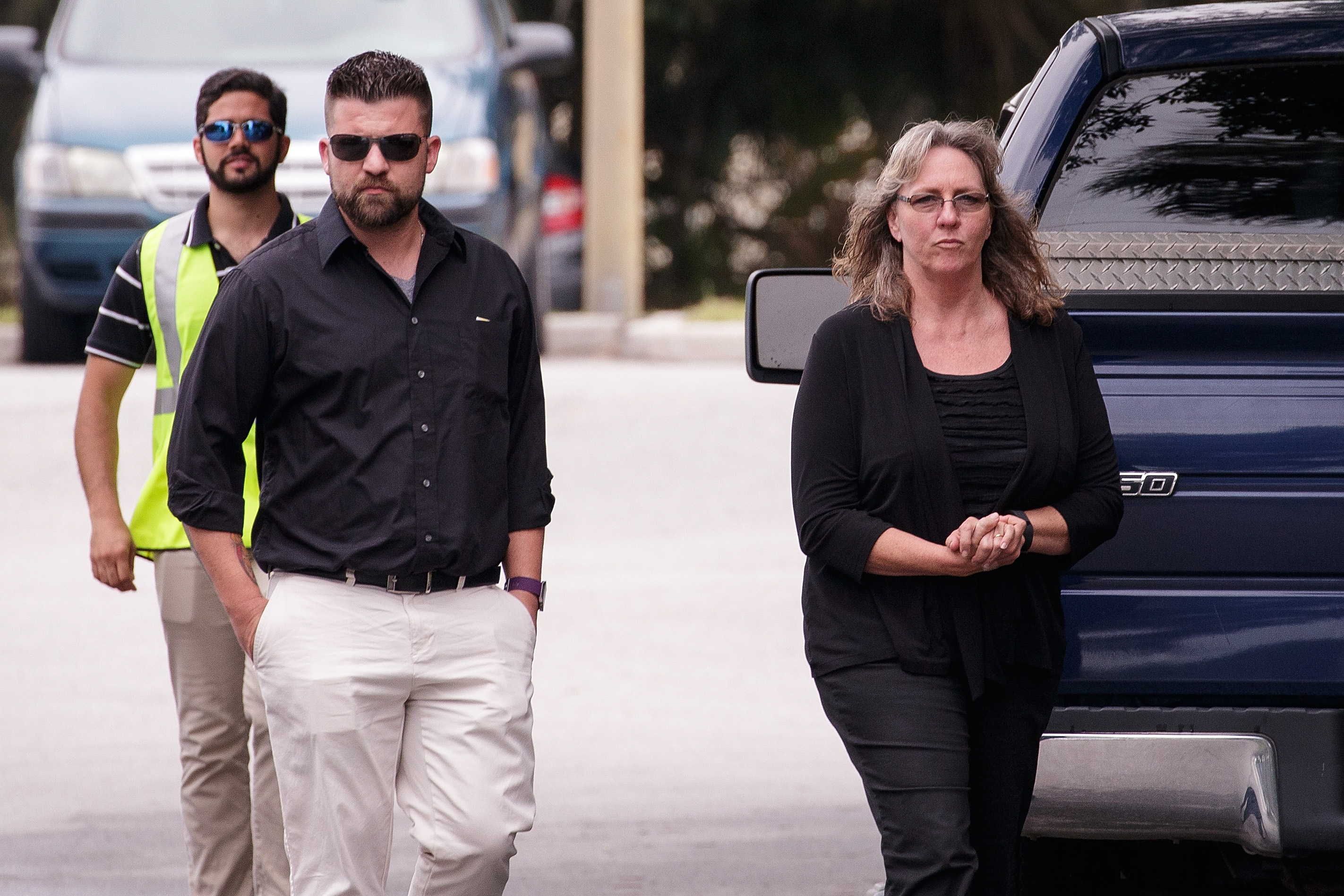 Christine Leinonen (R) arrives at the wake for her son Christopher  Dru  Leinonen, June 17, 2016 in Orlando, Florida.