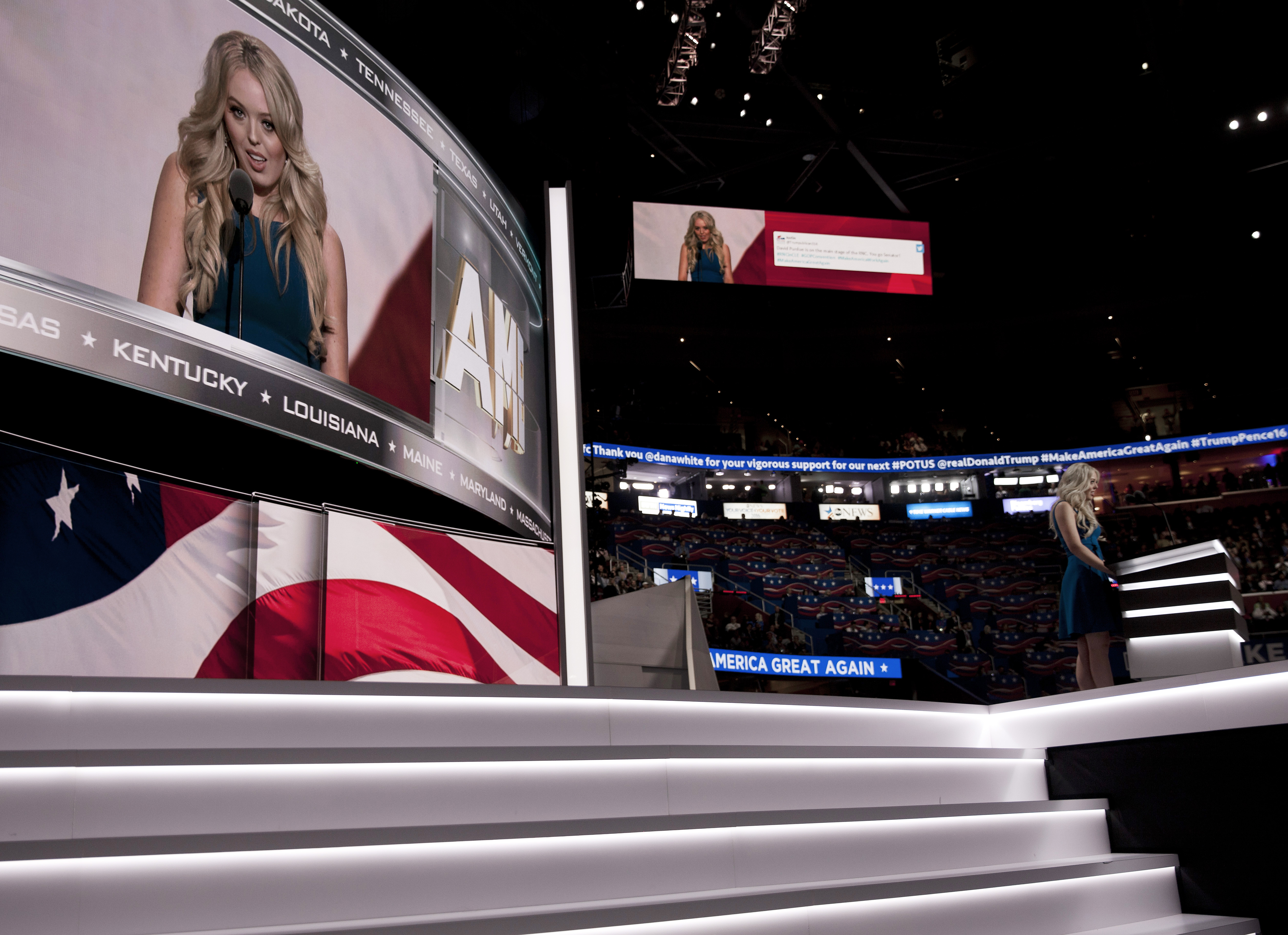 Tiffany Trump, daughter of Donald Trump, speaks at the 2016 Republican National Convention in Cleveland on July 19, 2016.