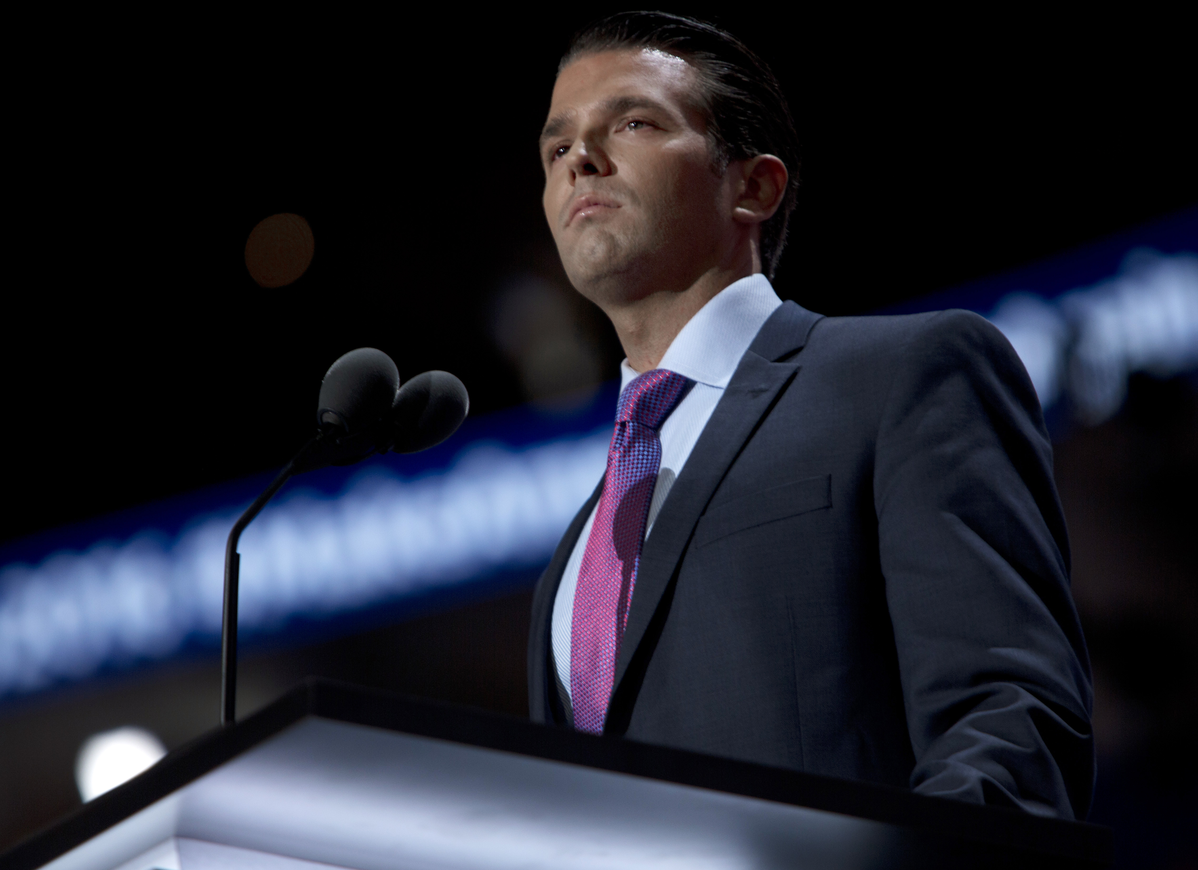 Donald Trump Jr. speaks at the Republican National Convention in Cleveland on July 19, 2016.