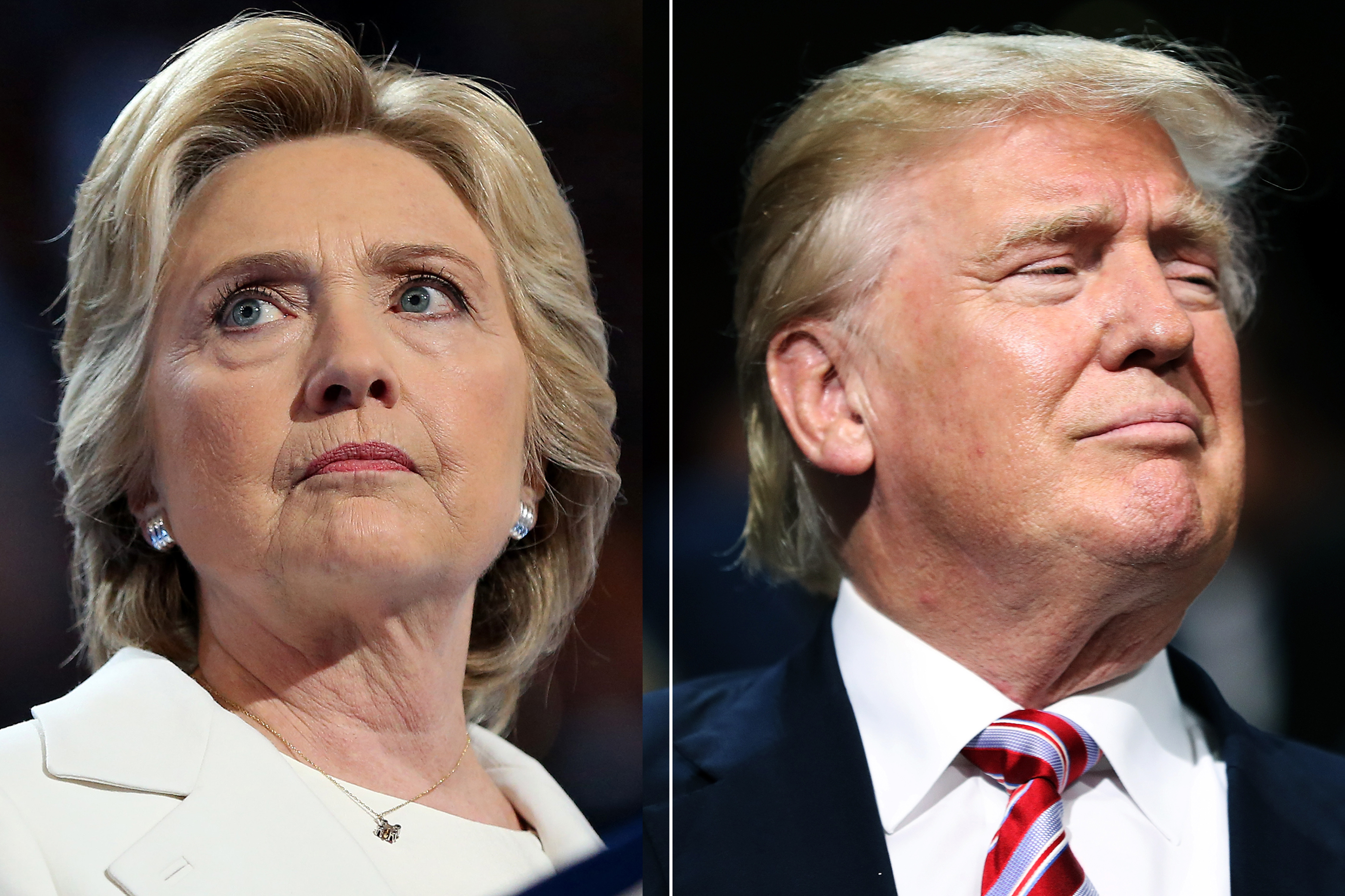 Hillary Clinton in Philadelphia, PA, on July 28, 2016 (L); Donald Trump in Cleveland, OH, on July 20, 2016.