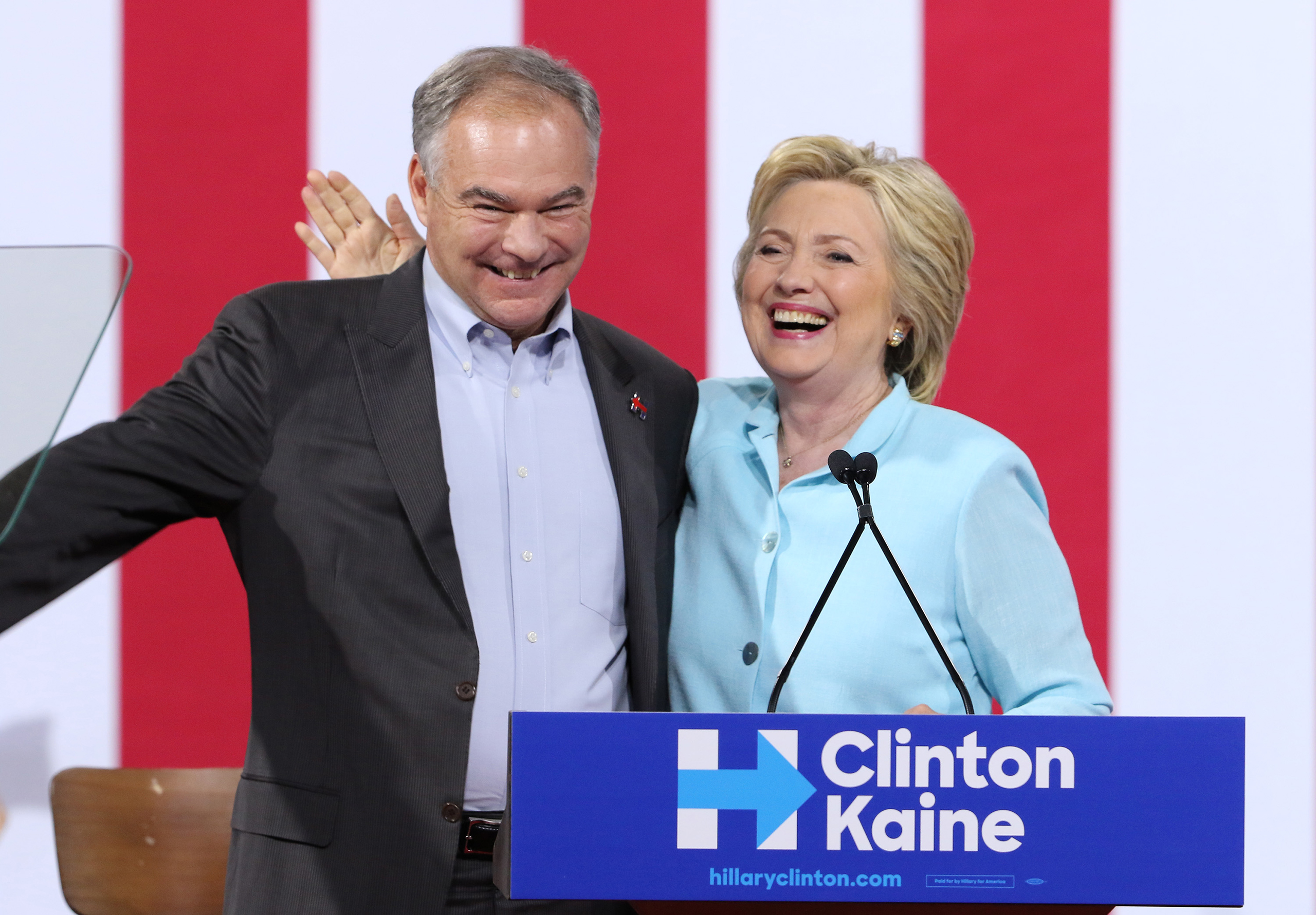 Hillary Clinton and Democratic vice presidential candidate U.S. Sen. Tim Kaine attend a campaign rally at Florida International University Panther Arena in Miami, Fla., on July 23, 2016.