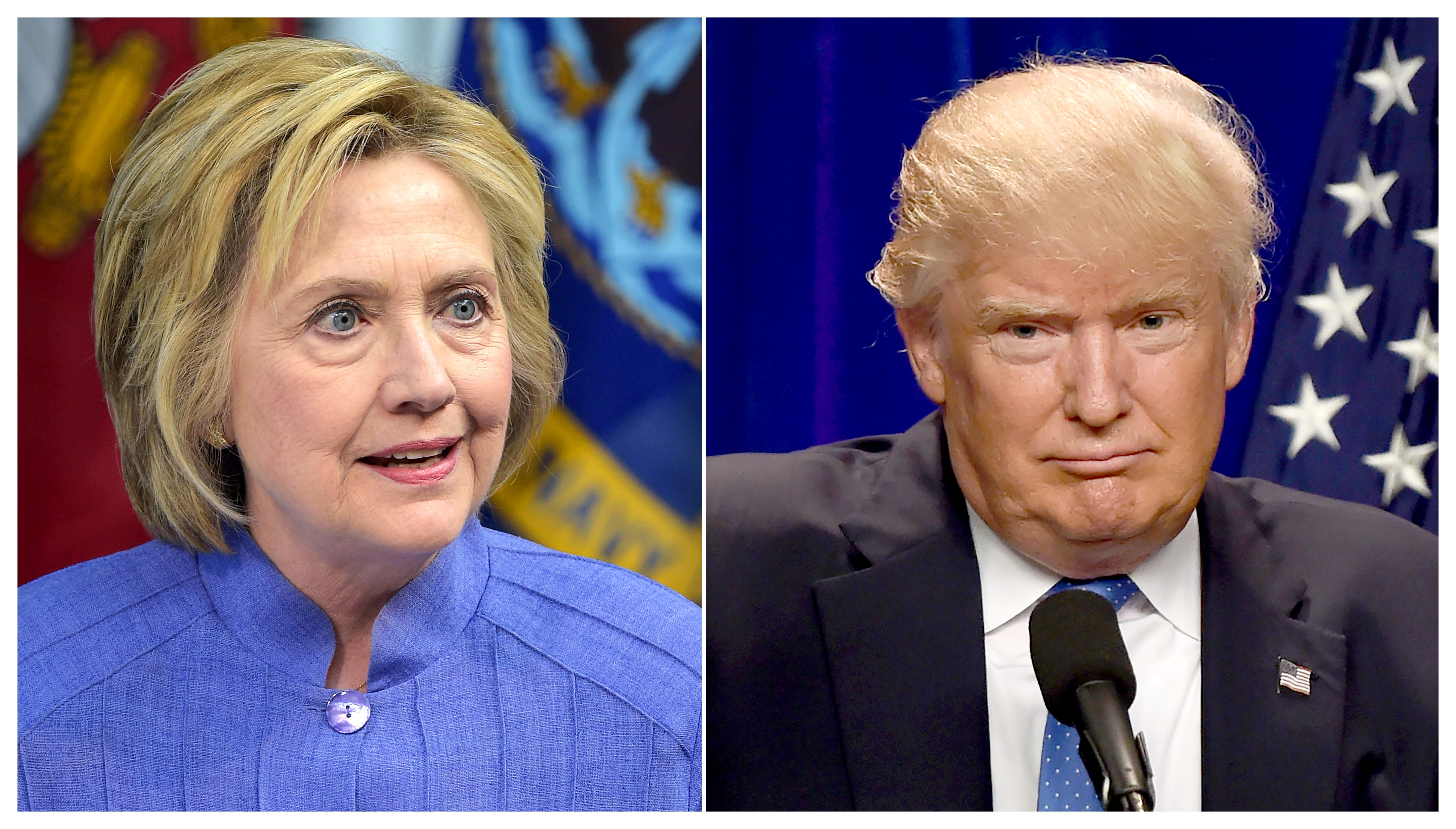 Democratic presidential nominee Hillary Clinton (L)  and Republican presidential nominee Donald Trump.