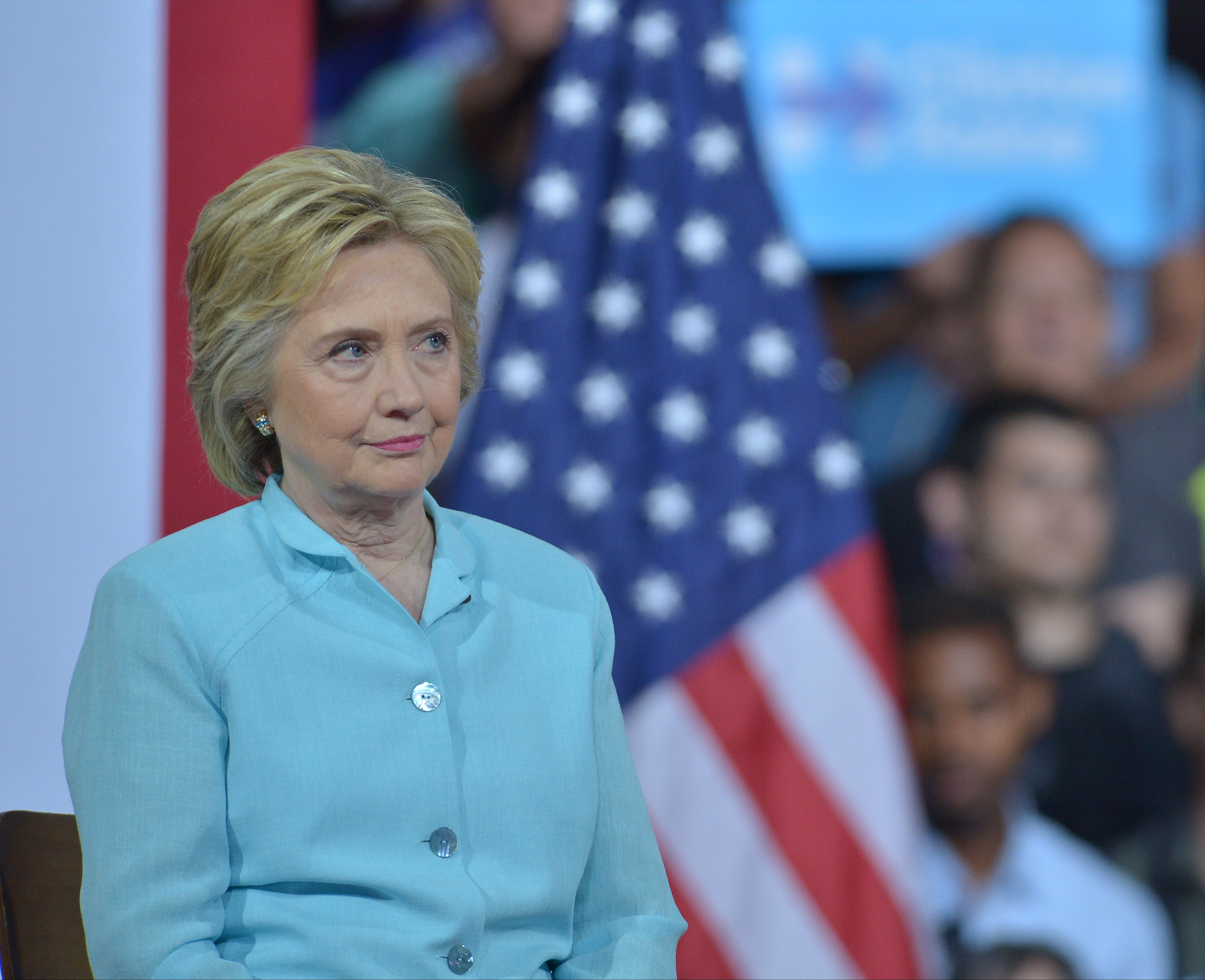MIAMI, FL - JULY 23:  Democratic Presumptive Nominee for President former Secretary of State Hillary Clinton speak at a rally with her Democratic candidate for Vice President, U.S. Senator Tim Kaine (D-VA) (L) at the Florida International University Panther Arena, Florida on July 23, 2016.