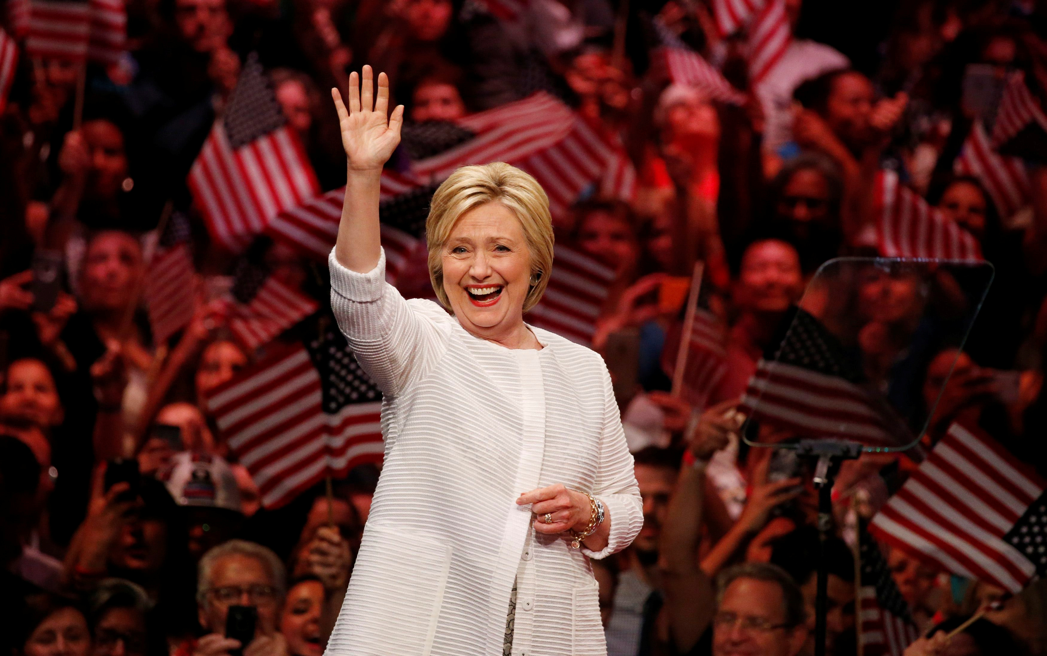 Democratic presidential candidate Hillary Clinton waves as she arrives to speak during her California primary night rally held in the Brooklyn borough of New York, June 7, 2016.