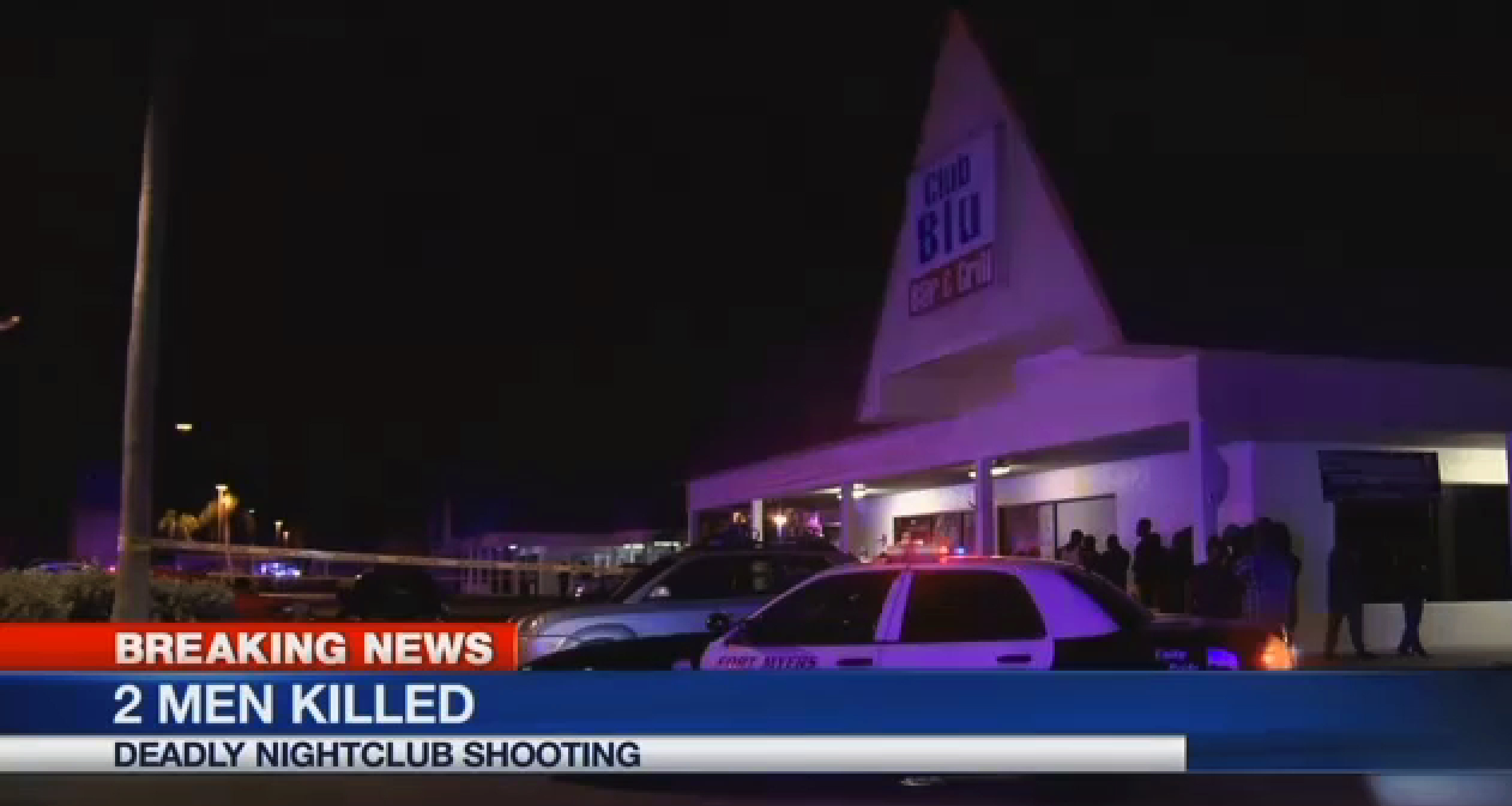 In this frame from video, people gather near the scene of a fatal shooting at Club Blu nightclub in Fort Myers, Fla. on  July 25, 2016.