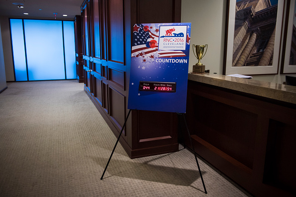 A countdown clock for the RNC is seen in a law office downtown in Cleveland, Ohio on Friday June 03, 2016.