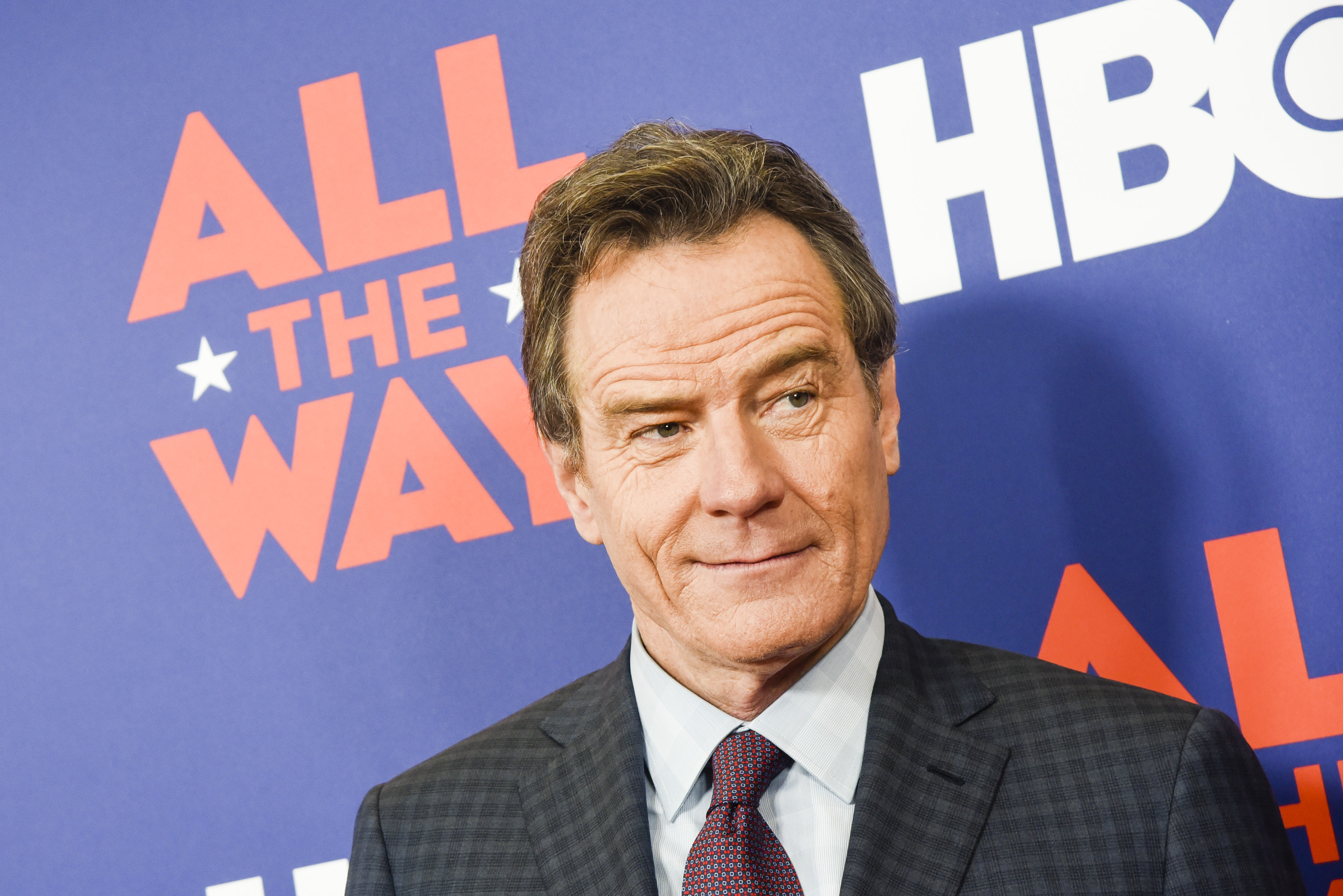 Actor Bryan Cranston poses for photographers during HBO's  All The Way  Washington, DC Screening at The National Archives in Washington, D.C., on May 16, 2016.