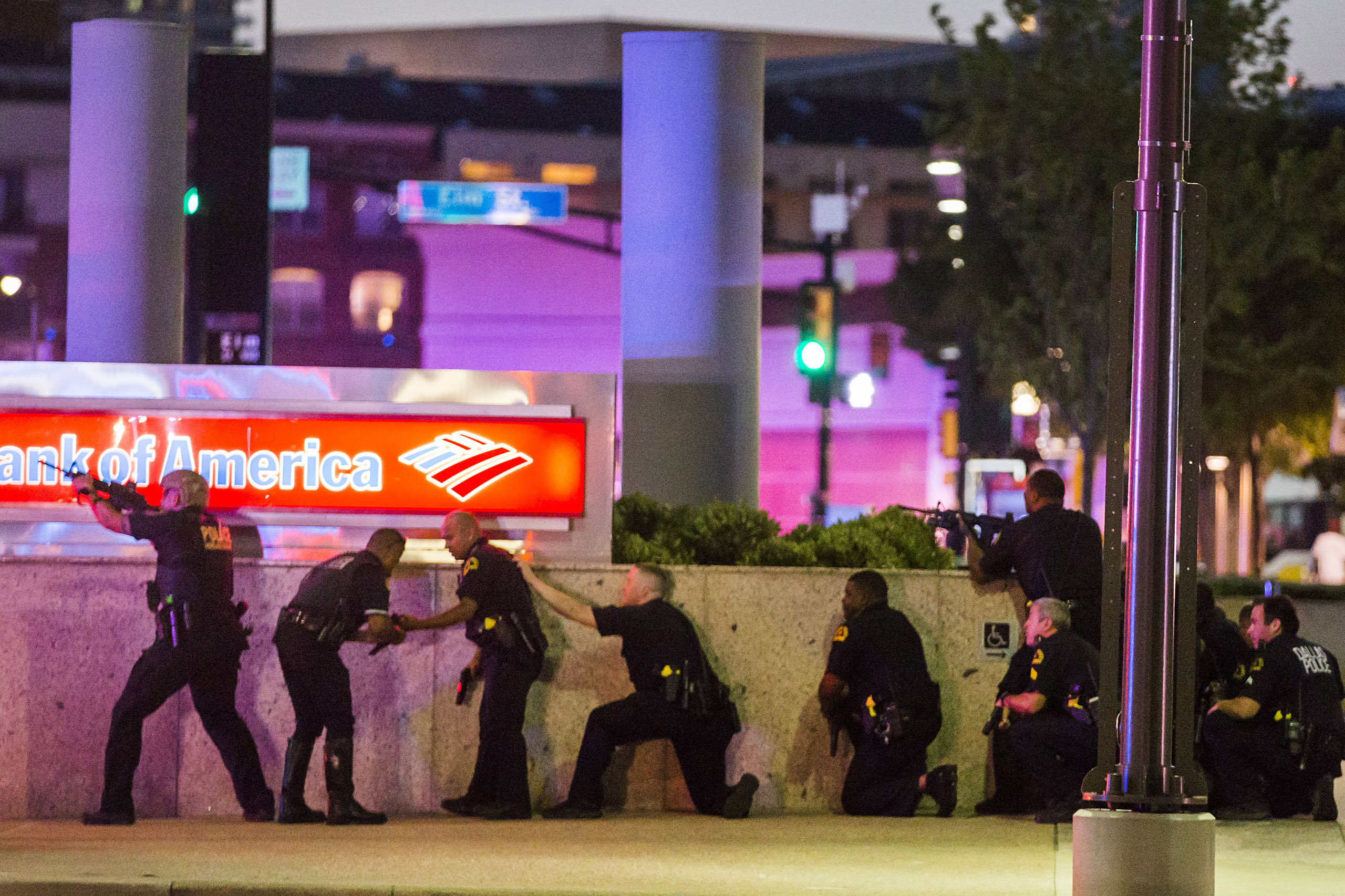 Dallas Police respond after shots were fired at a Black Lives Matter rally in downtown Dallas on July 7, 2016.