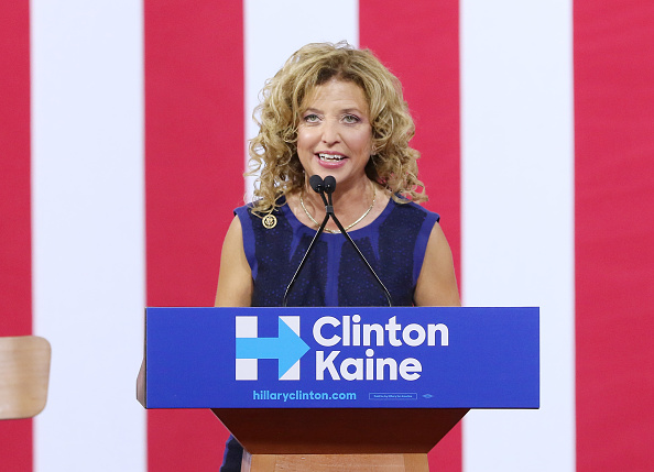 Democratic National Committee Chairwoman Debbie Wasserman Schultz attends a campaign rally at Florida International University Panther Arena on July 23, 2016 in Miami, Florida.