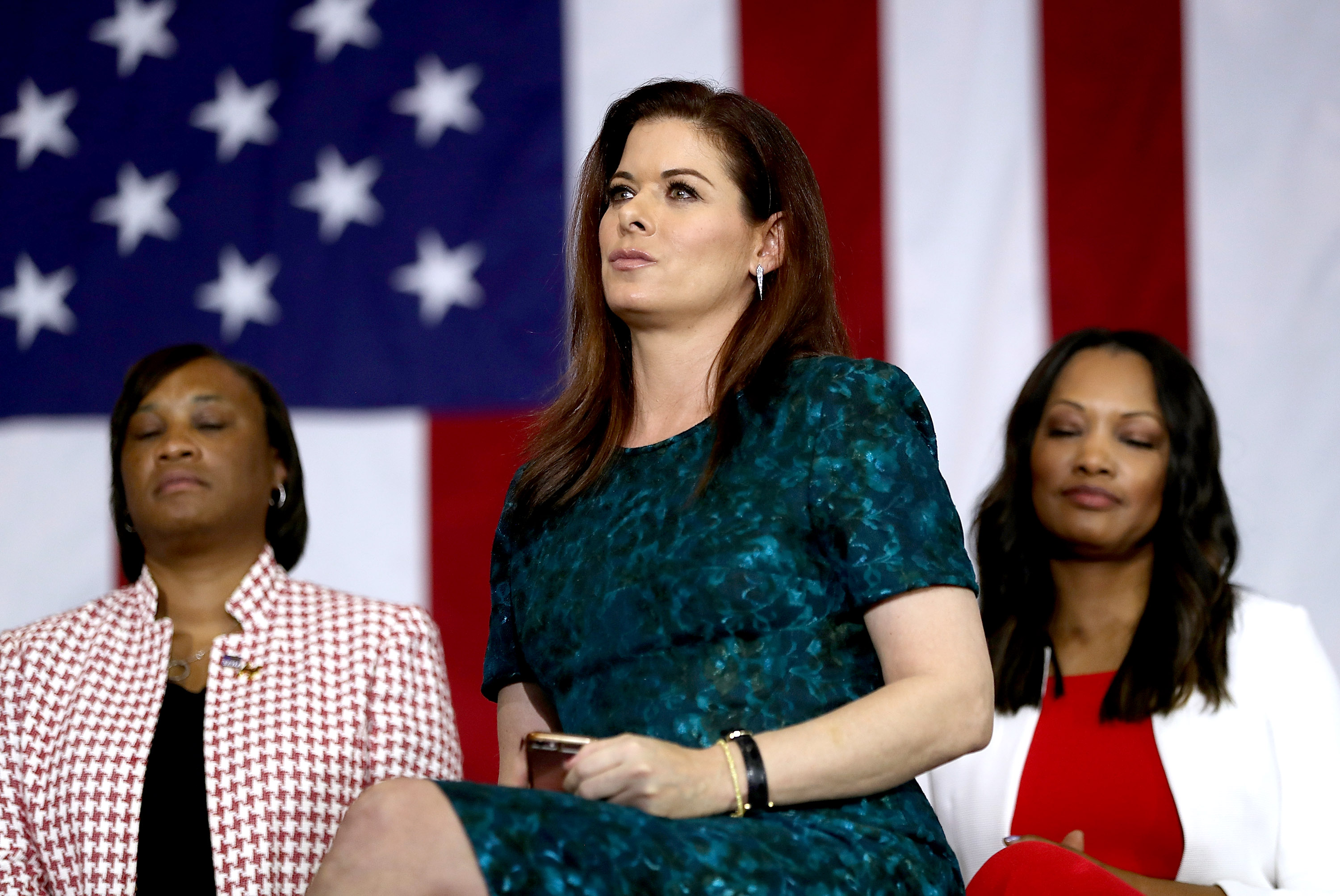 Actress Debra Messing looks on during a Women for Hillary Organizing event at West Los Angeles College on June 3, 2016 in Culver City, Calif.