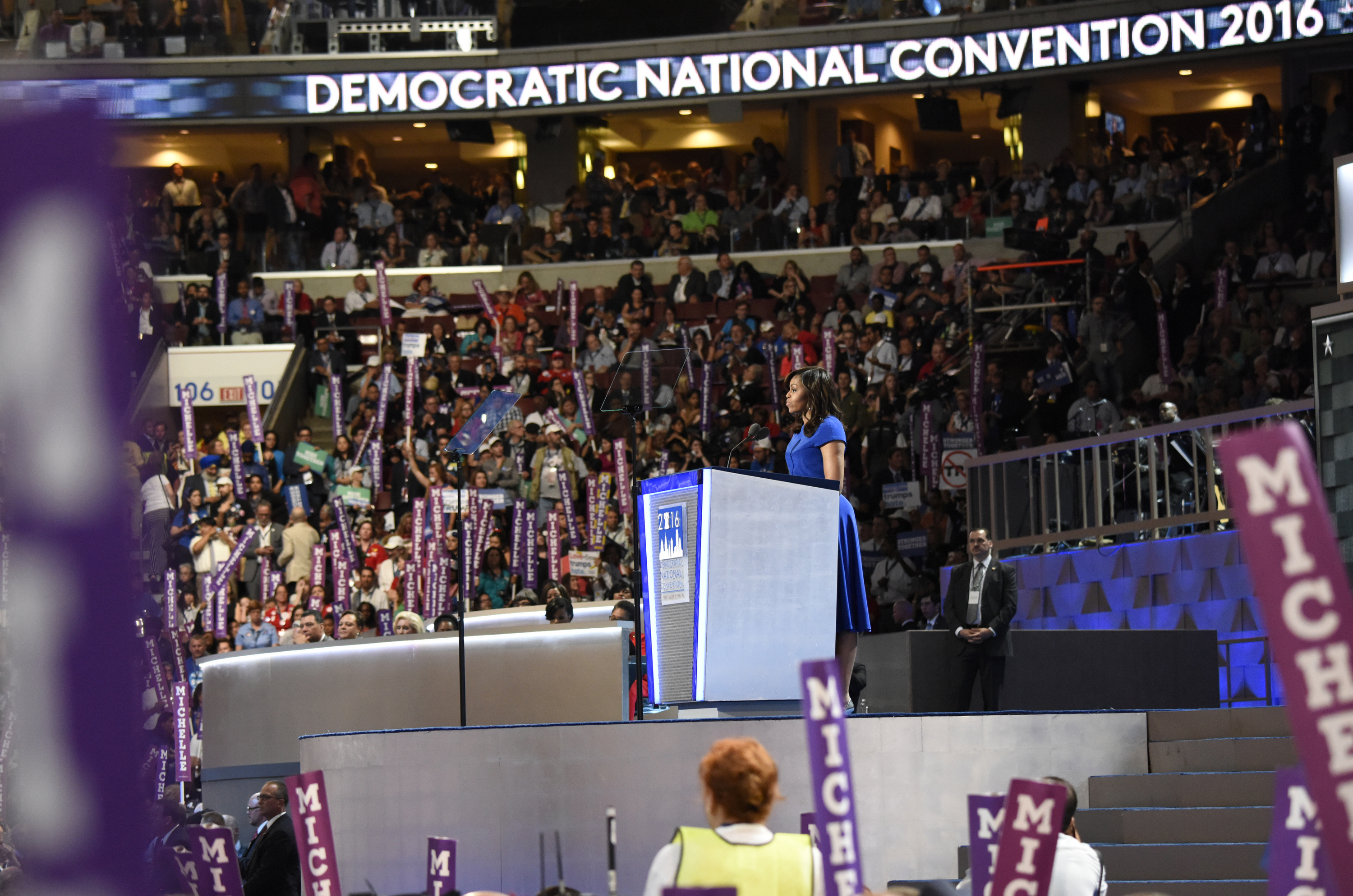 First Lady Michelle Obama speaks at the Democratic National Convention in Philadelphia, Penn., on July 26.