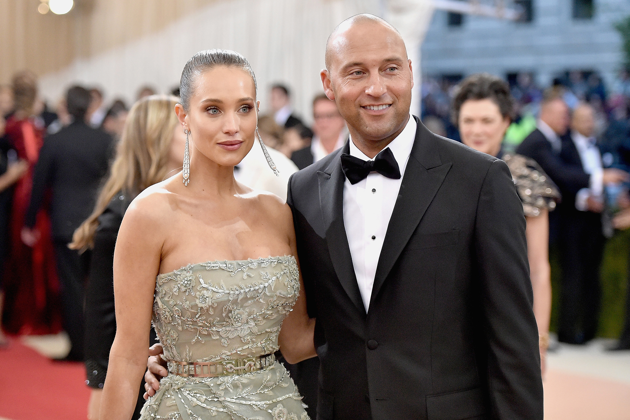 Hannah Davis and Derek Jeter attend the Costume Institute Gala at Metropolitan Museum of Art in New York City on May 2, 2016.