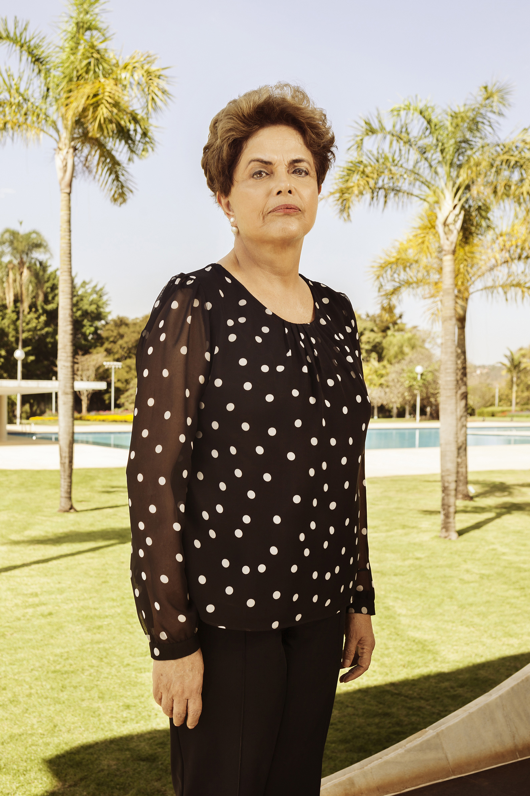 Suspended Brazilian President Dilma Rousseff outside the Alvorada residential palace in Brasilia on July 22, 2016.