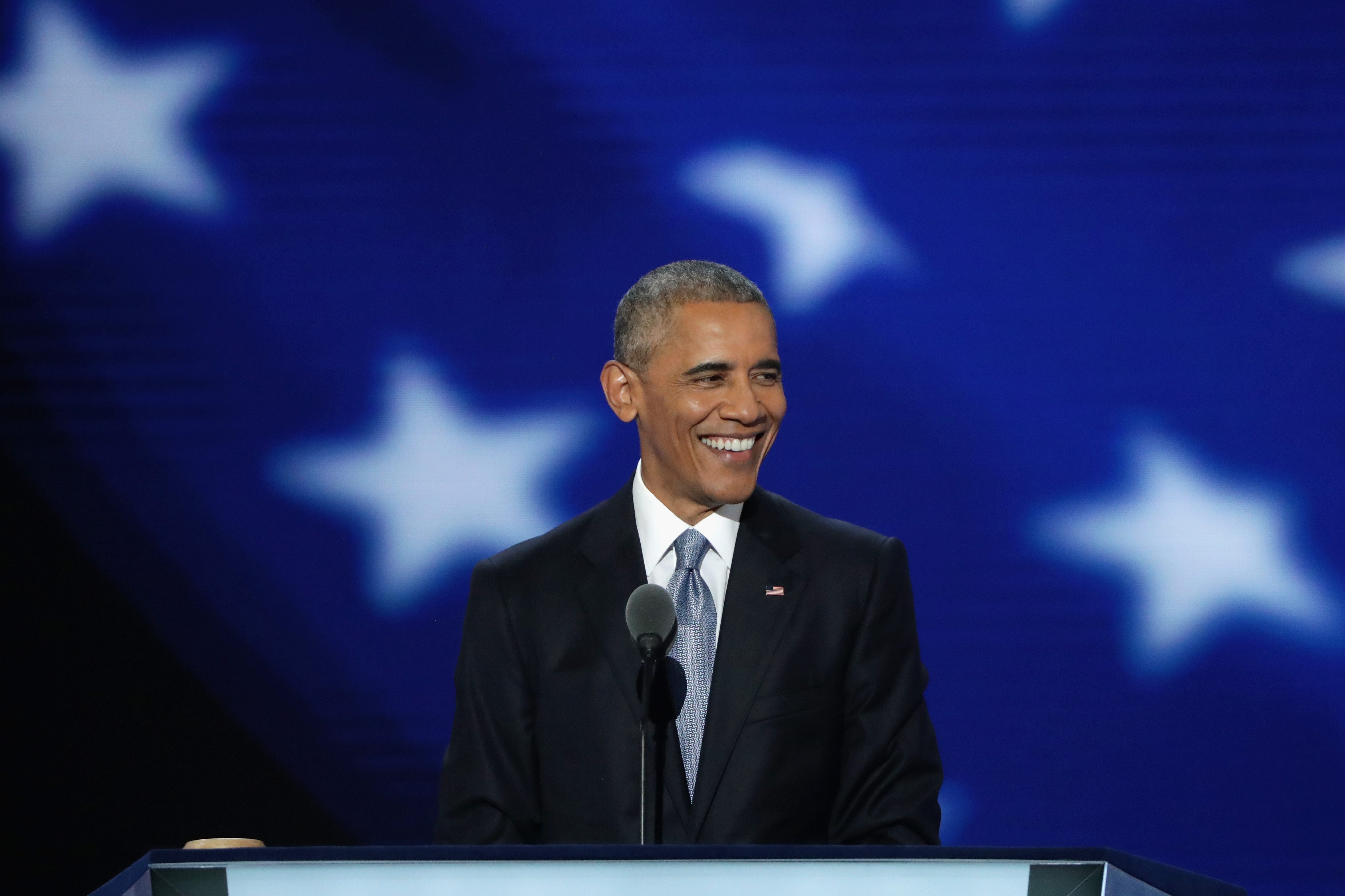 PHILADELPHIA, PA - JULY 27:  US President Barack Obama delivers remarks on the third day of the Democratic National Convention at the Wells Fargo Center, July 27, 2016 in Philadelphia, Pennsylvania. Democratic presidential candidate Hillary Clinton received the number of votes needed to secure the party's nomination. An estimated 50,000 people are expected in Philadelphia, including hundreds of protesters and members of the media. The four-day Democratic National Convention kicked off July 25.  (Photo by Alex Wong/Getty Images)