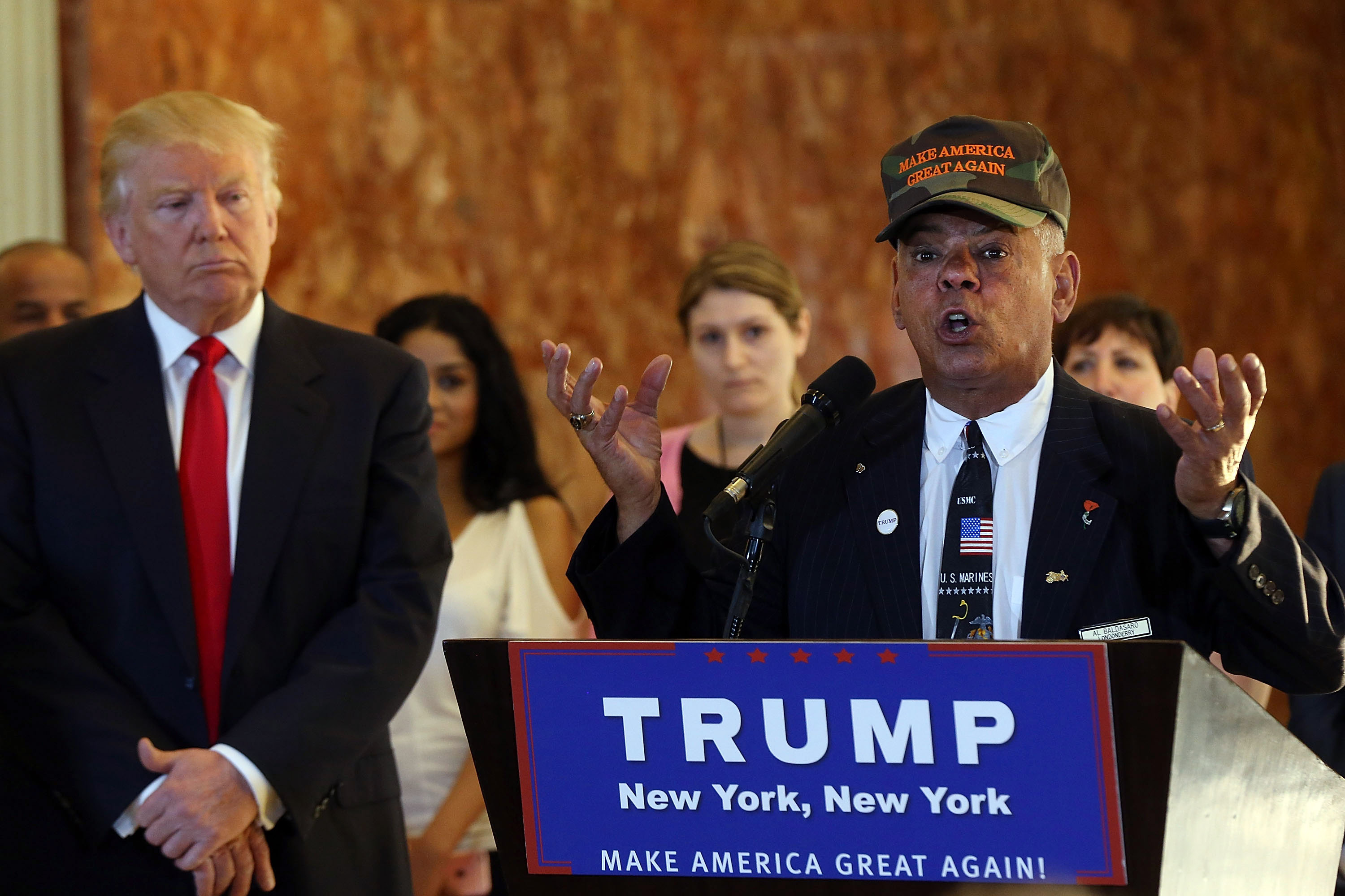 Former Marine Al Baldasaro defends the donations of Republican presidential candidate Donald Trump at a news conference at Trump Tower where Trump addressed issues about the money he pledged to donate to veterans  groups on May 31, 2016 in New York City.