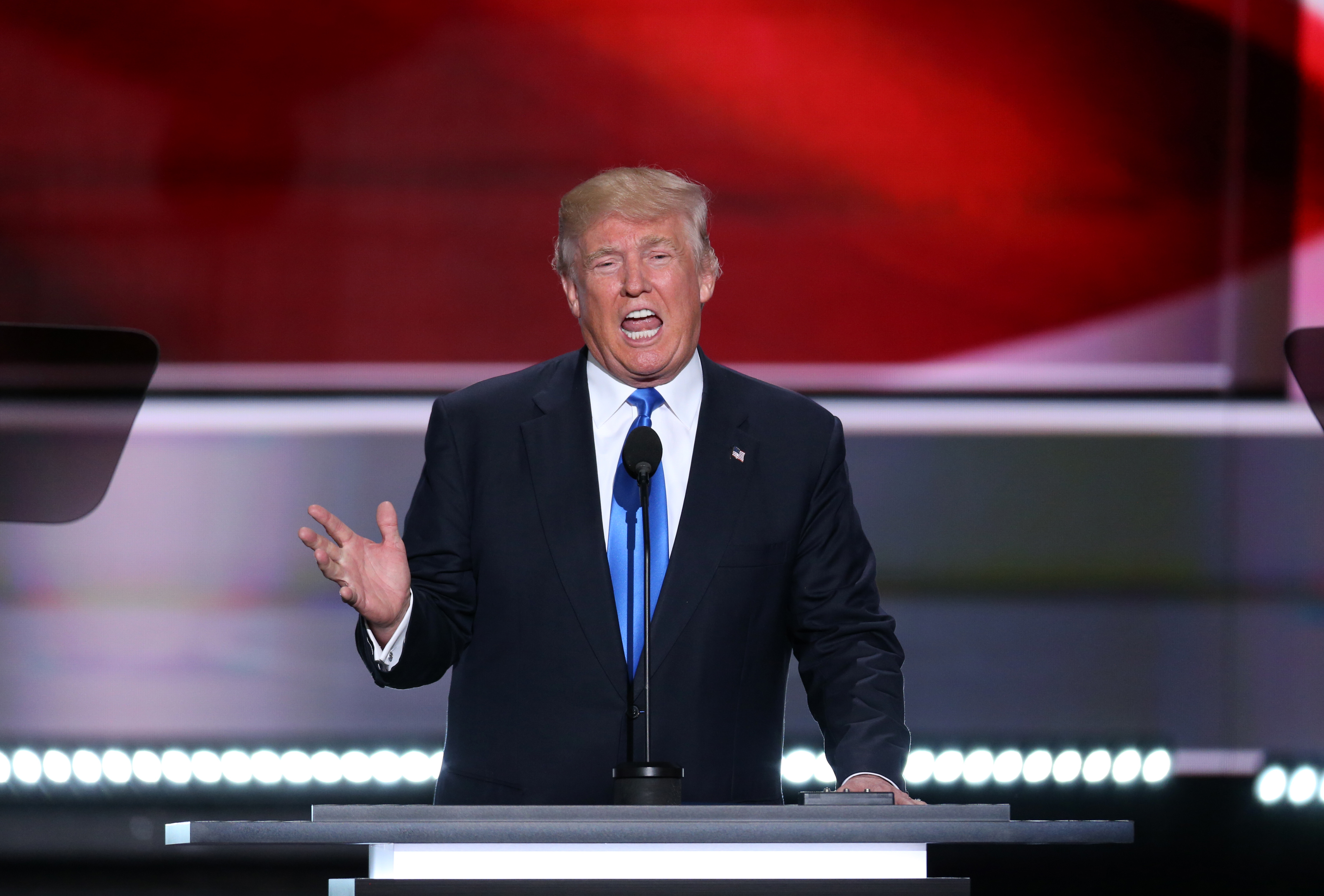 Donald Trump, presumptive 2016 Republican presidential nominee, speaks during the Republican National Convention (RNC) in Cleveland, Ohio, on July 18, 2016.