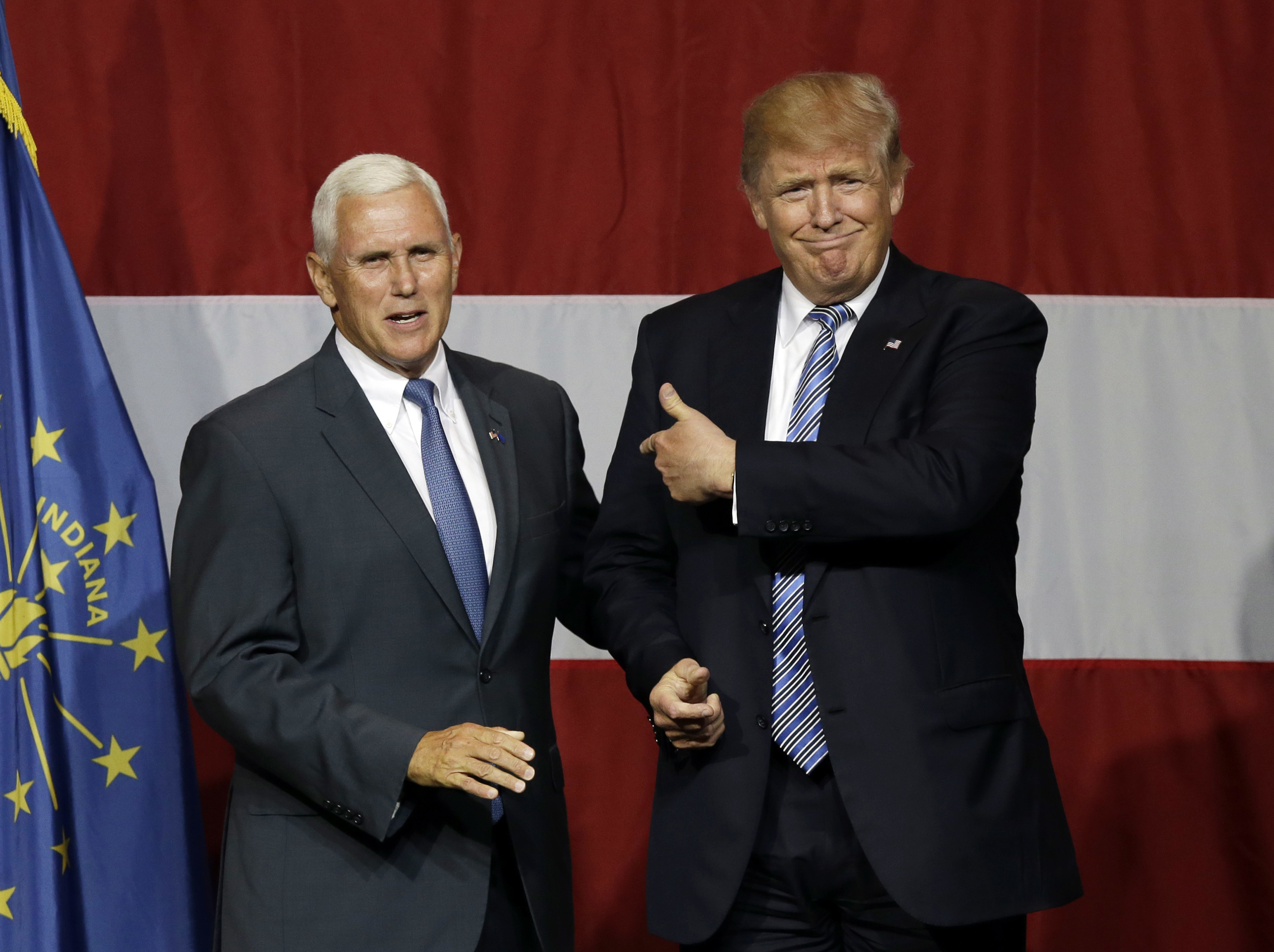 Ind. Gov. Mike Pence joins Republican presidential candidate Donald Trump at a rally in Westfield, Ind. on July 12, 2016.