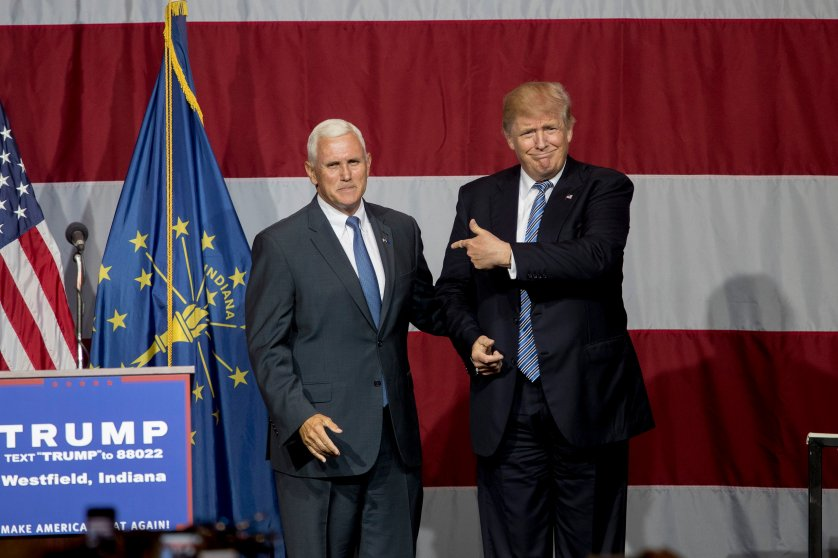 Republican presidential candidate Donald Trump greets Indiana Gov. Mike Pence at the Grand Park Events Center in Westfield, Ind. on July 12, 2016.