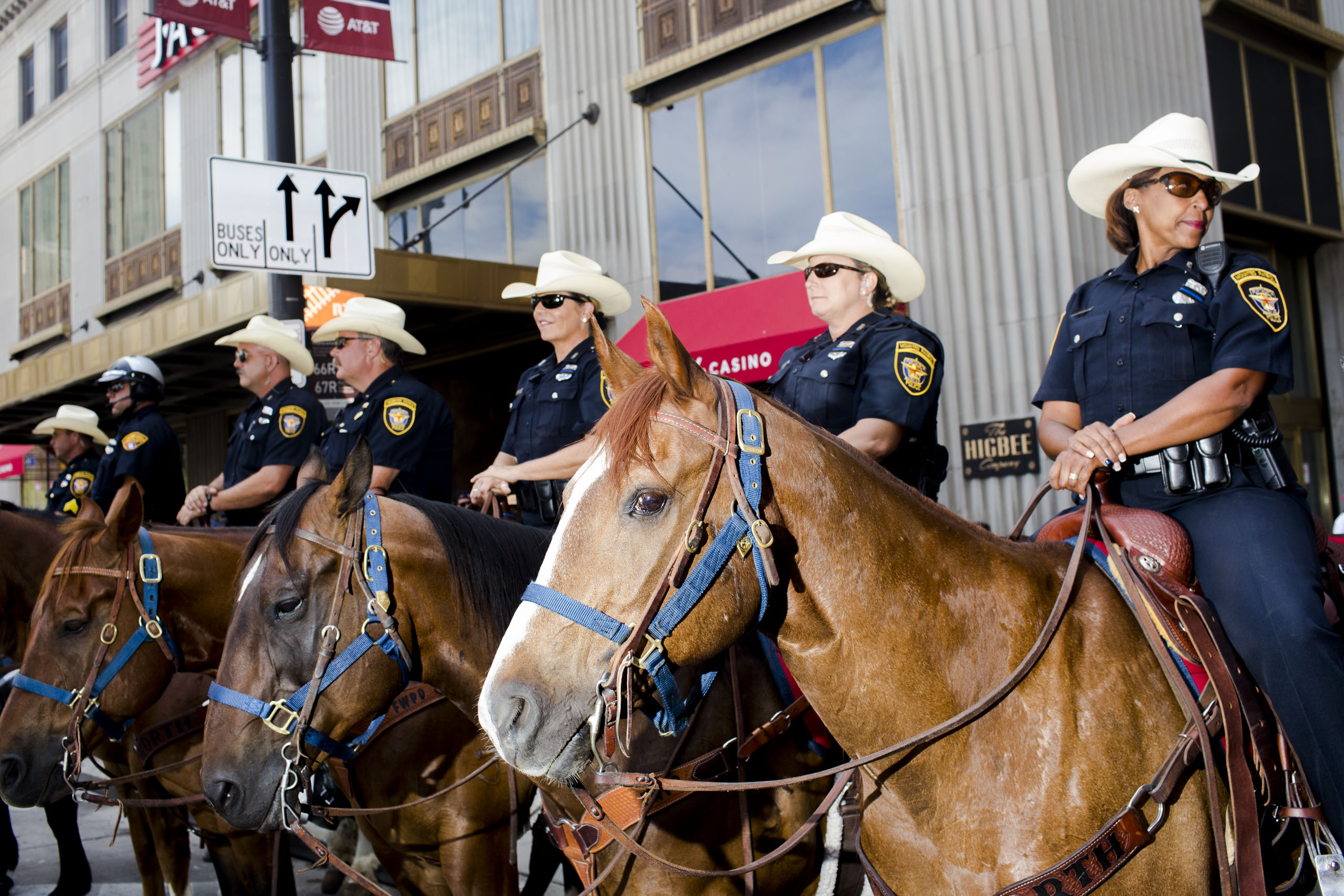 Mounted police from Fort Worth, Texas monitor the 2016 Republican National Convention in Cleveland on Wednesday, July 20, 2016.