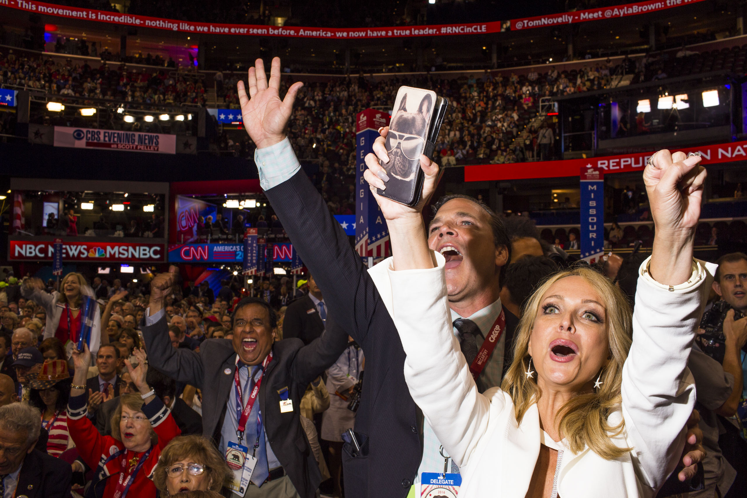 Delegates cheer at the Republican National Convention in Cleveland on Tuesday, July 19, 2016.