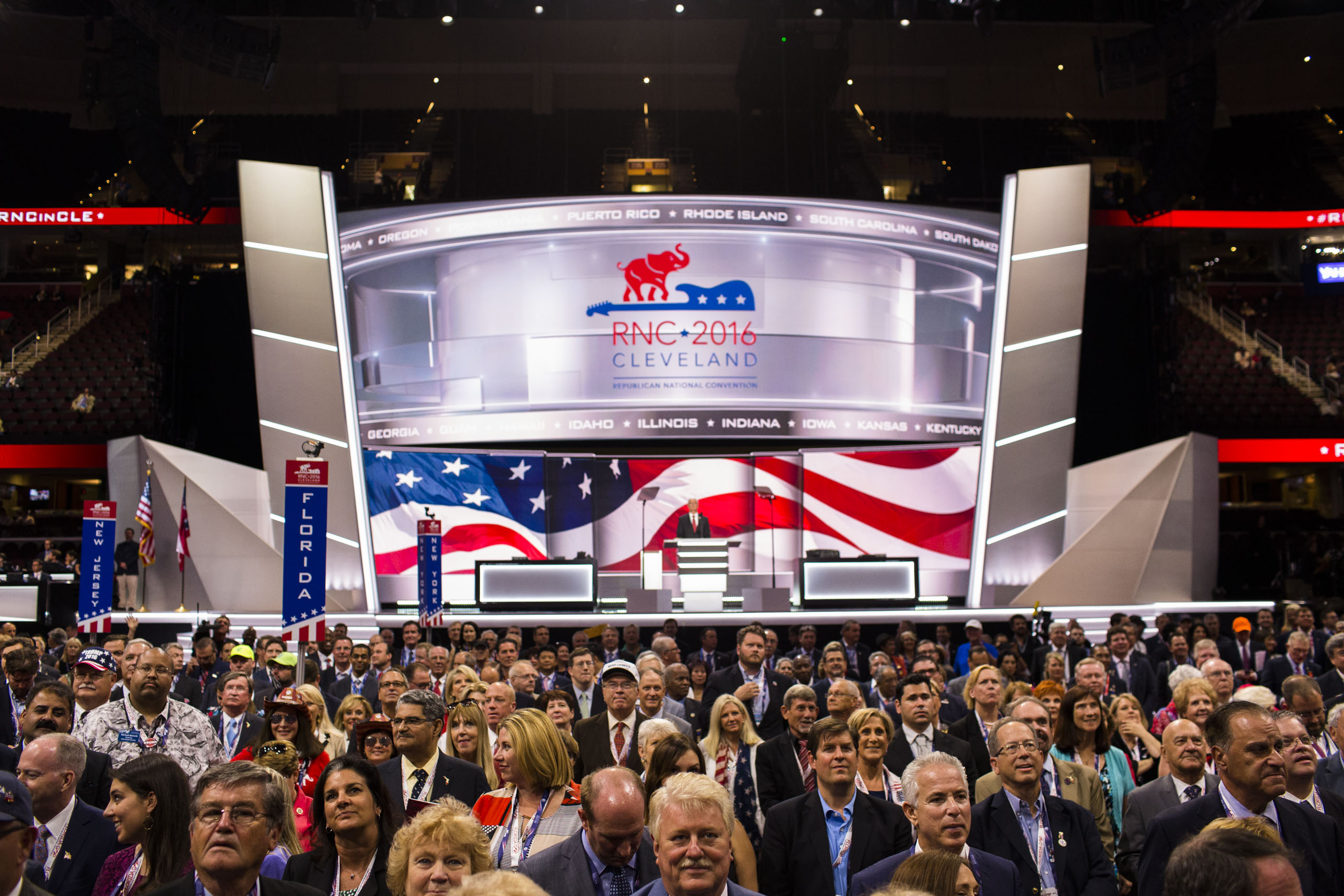 Delegates pose for a group photo at the Republican National Convention on Monday, July 18, 2016, in Cleveland.