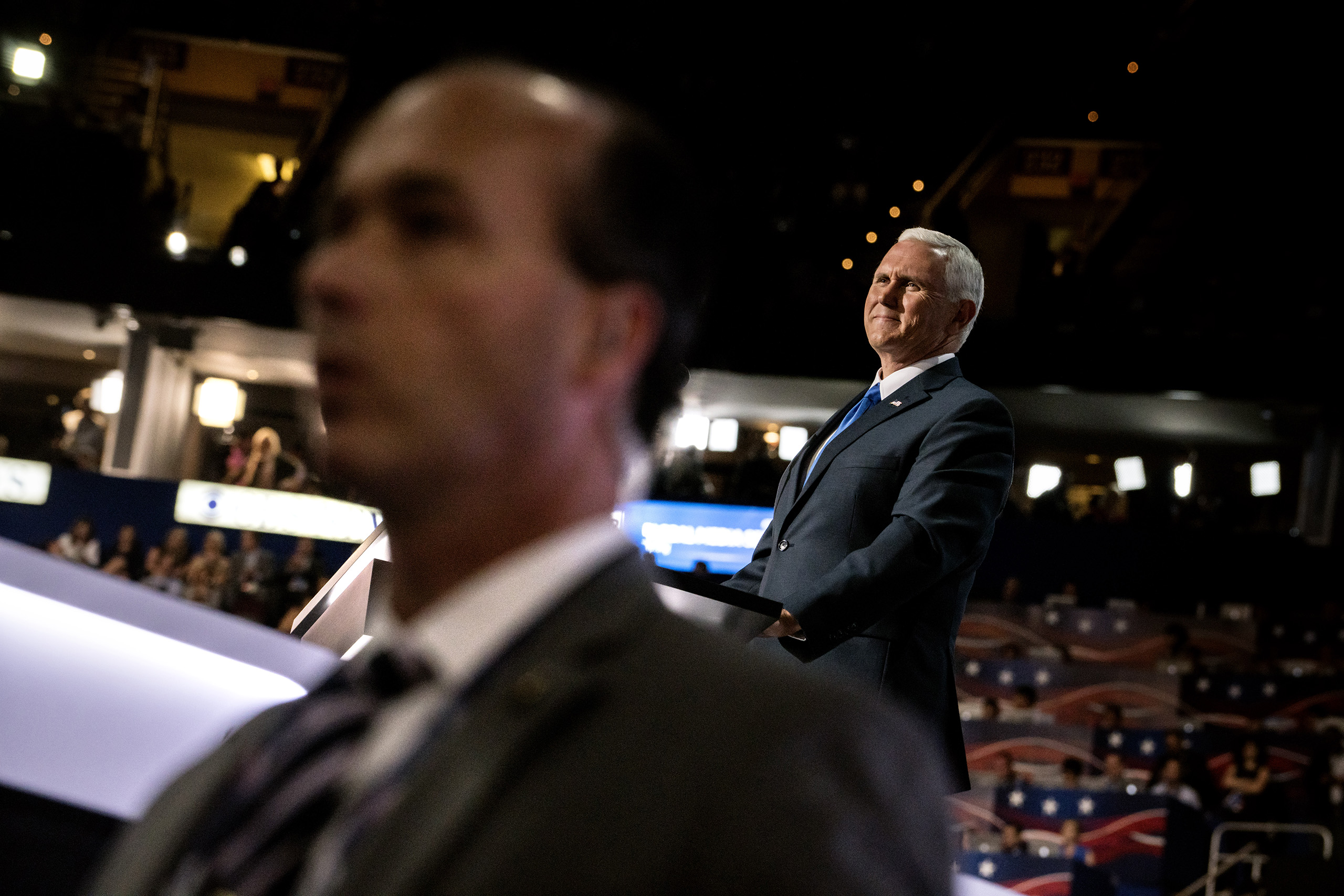 Republican Vice Presidential candidate Mike Pence delivers his speech on the third day of the Republican National Convention on July 20, 2016, at the Quicken Loans Arena in Cleveland, Ohio.