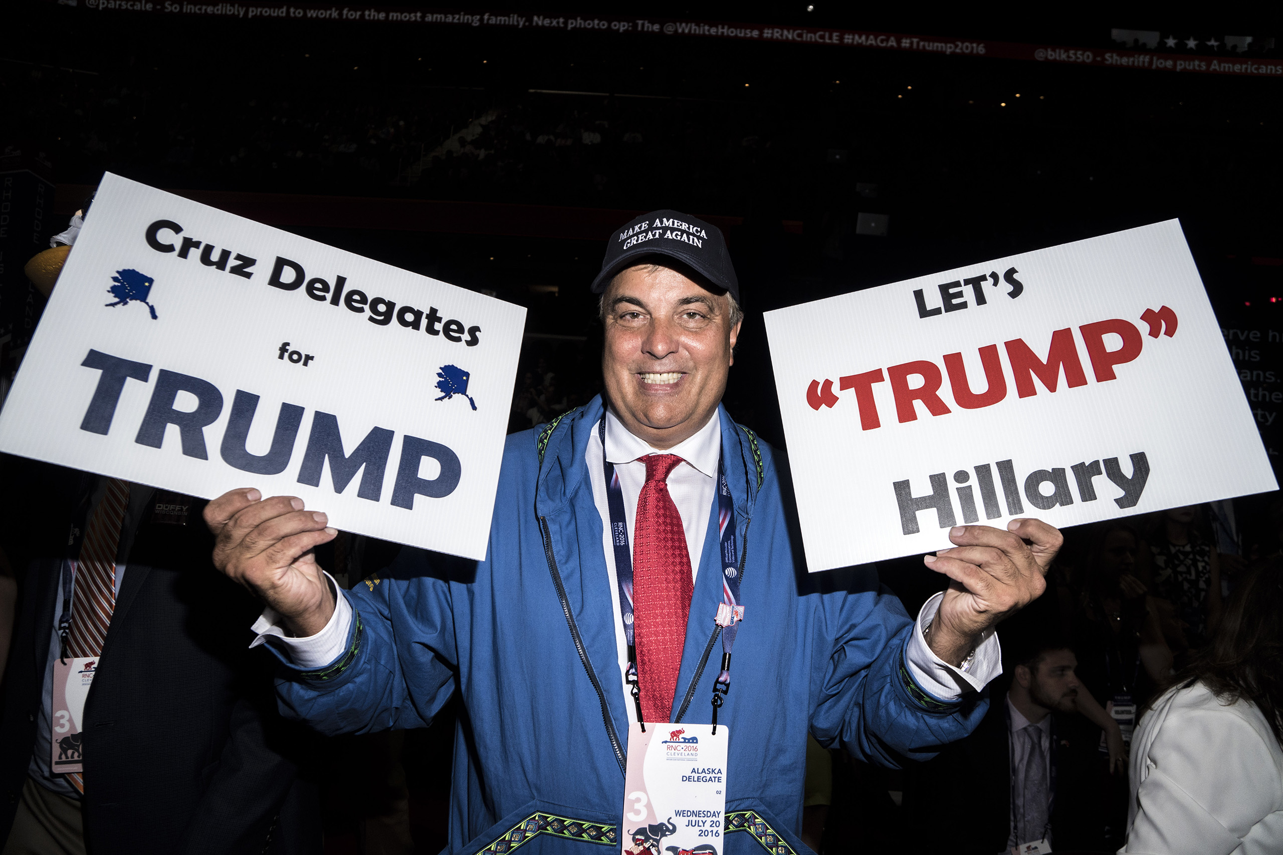 A delegate from Alaska show his support for Trump at the Republican National Convention on July 20, 2016, at the Quicken Loans Arena in Cleveland, Ohio.