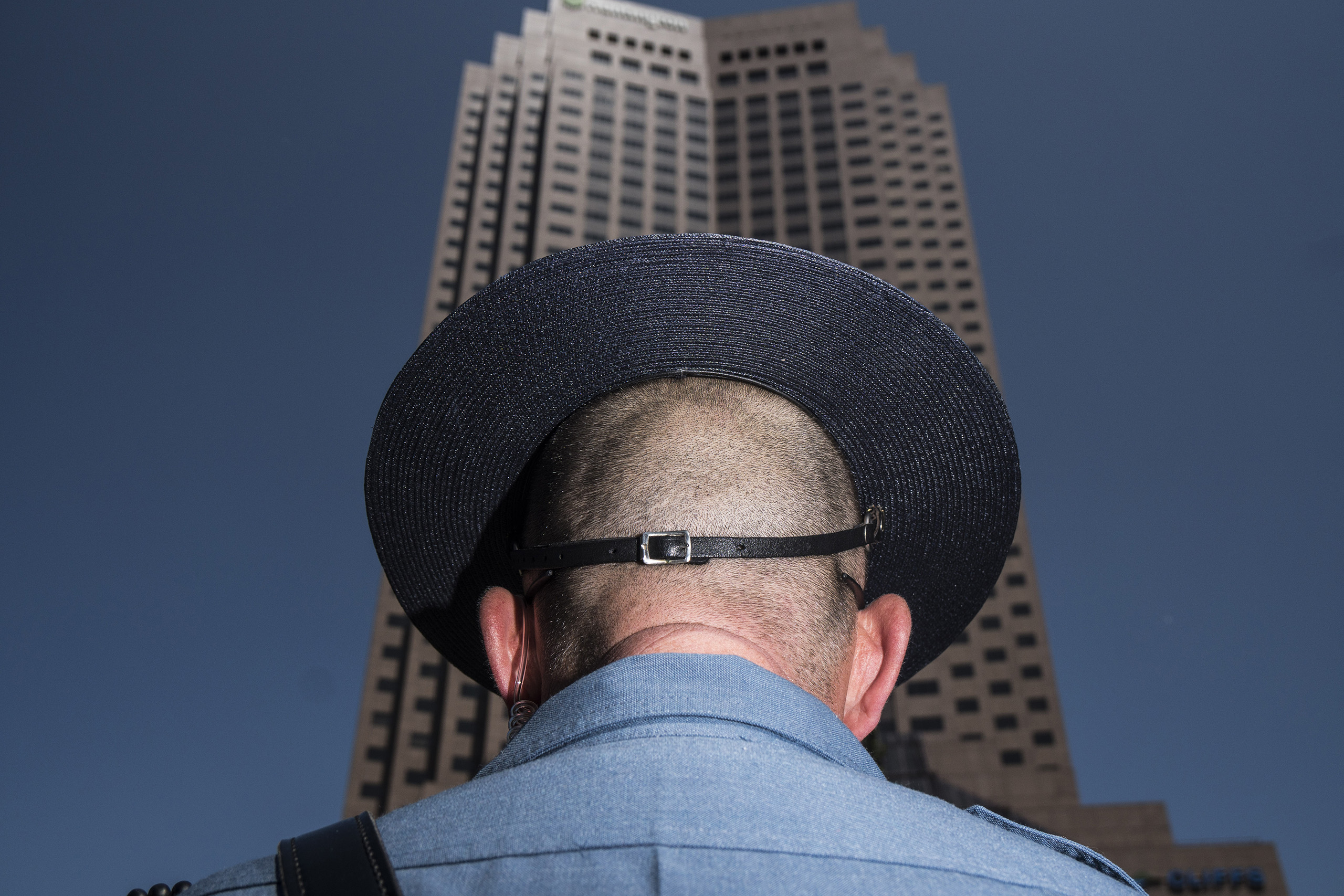 A police officer stands guard in the Cleveland Public Square,  July 19, 2016 outside of the Republican National Convention in Cleveland, Ohio.