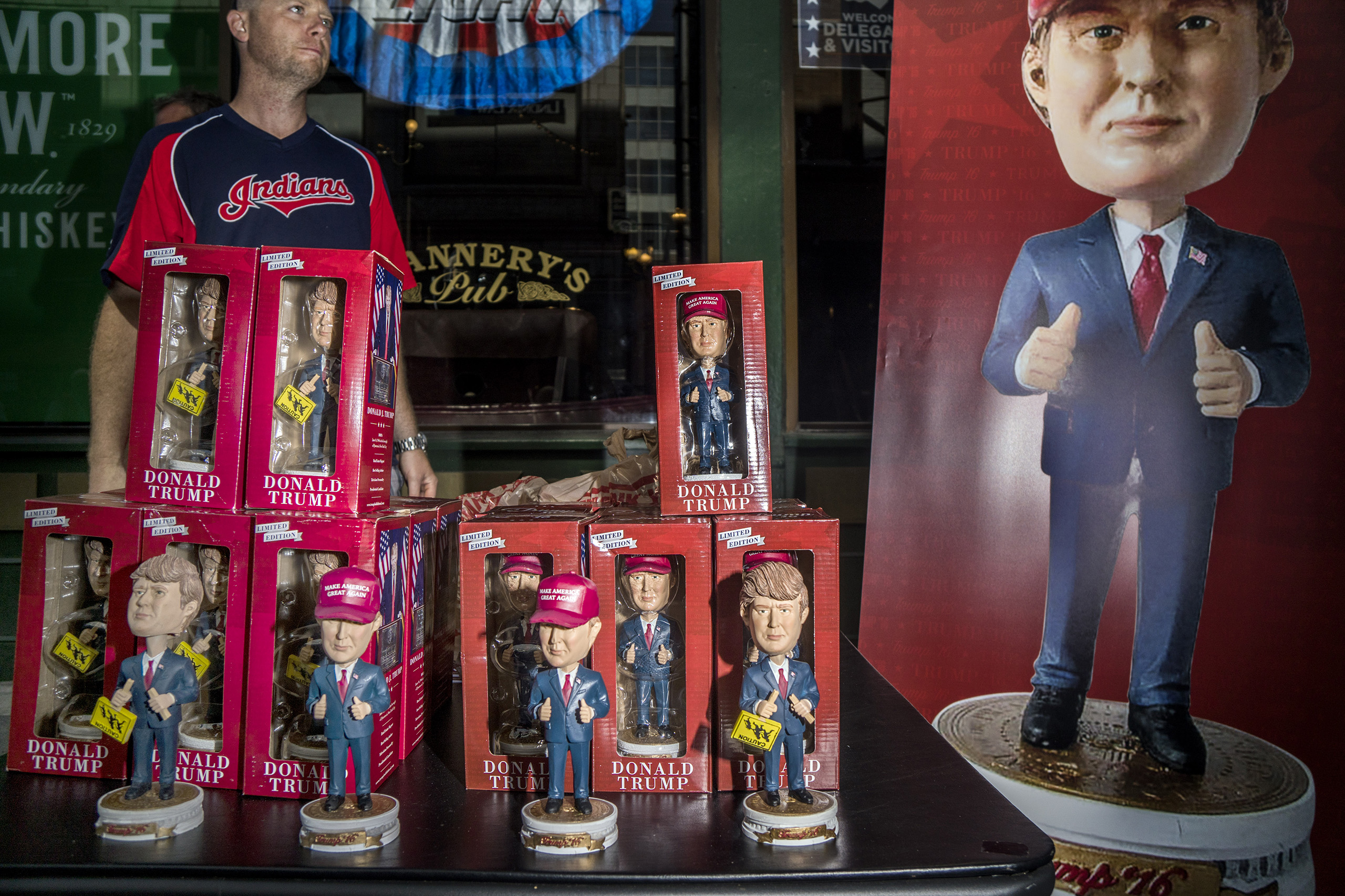 Political Merchandise sold outside the Republican National Convention, July 19, 2016 in Cleveland, Ohio.