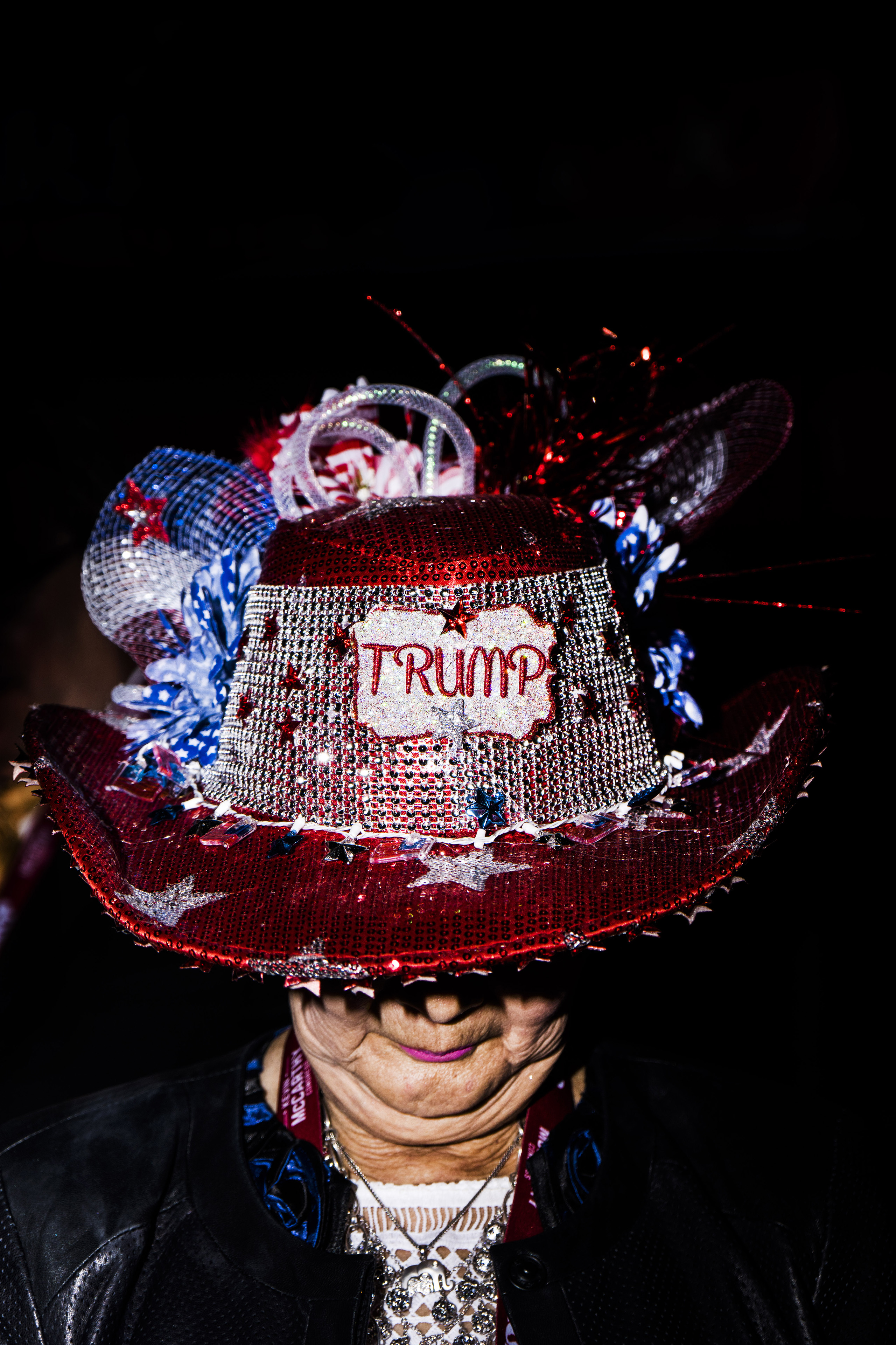 A festive Trump hat at the Republican National Convention (RNC) in Cleveland, Ohio, U.S., on Monday, July 20, 2016.