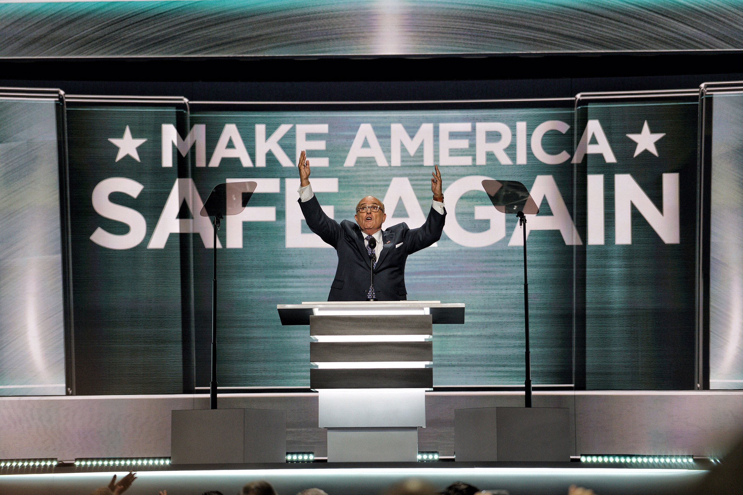 Former New York City Mayor Rudy Giuliani delivers a speech on the first day of the Republican National Convention on July 18, 2016 at the Quicken Loans Arena in Cleveland, Ohio.